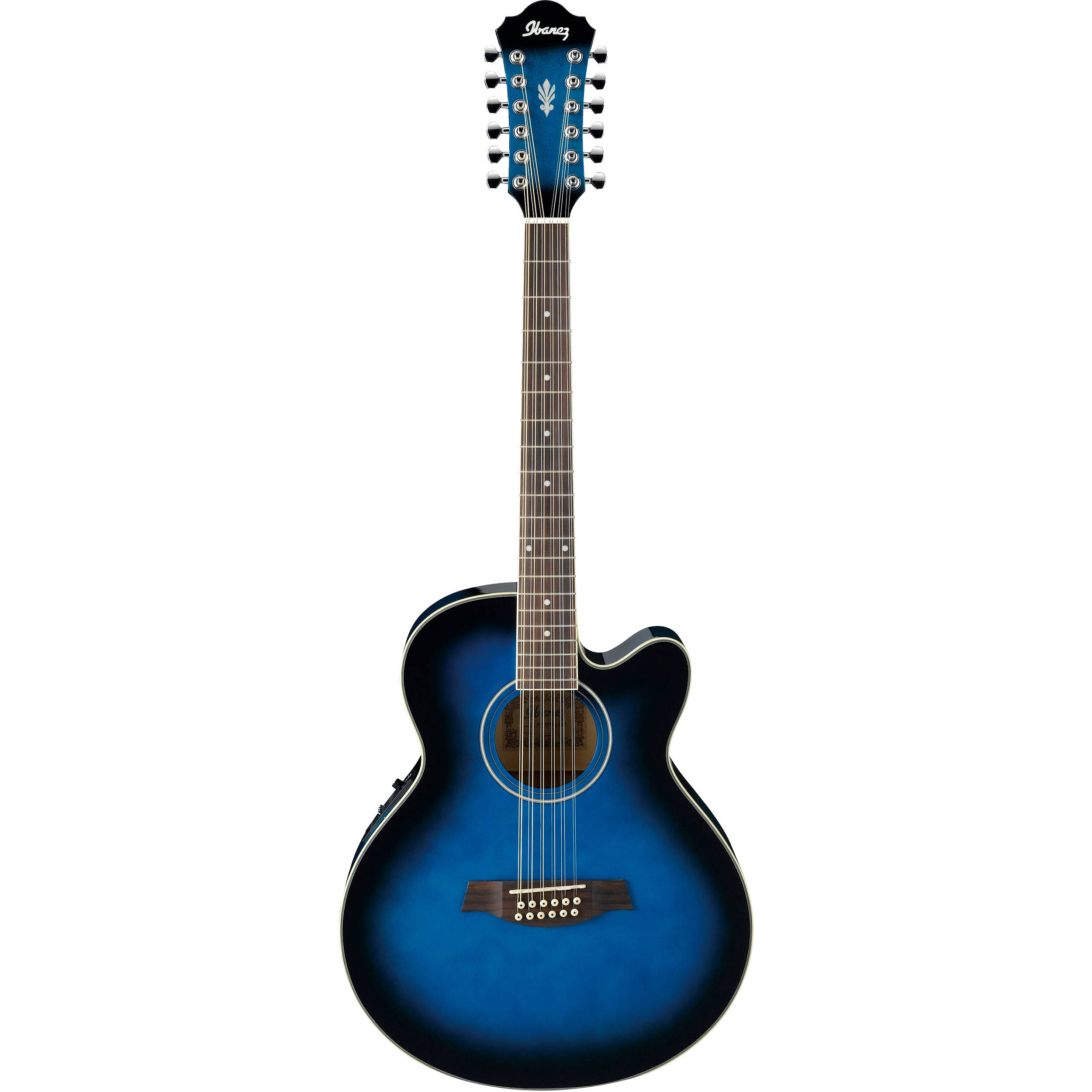 Ibanez AEL1512E Acoustic Electric 12 String Guitar Transparent Blue Sunburst