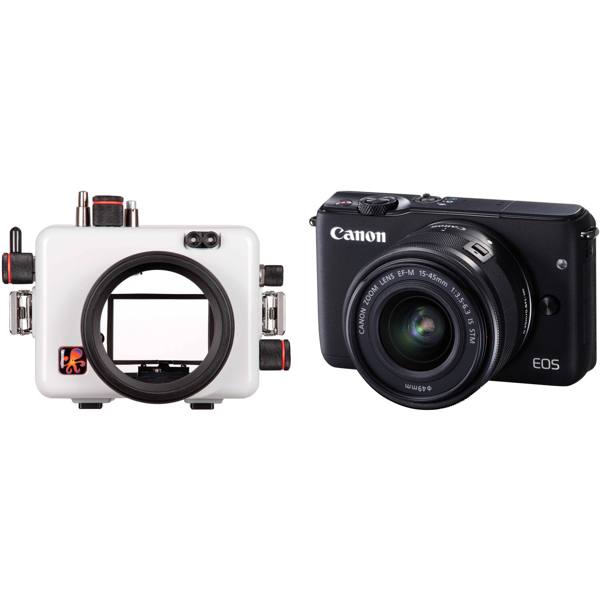 Ikelite Underwater Housing And Canon Eos M10 Digital Camera Bh Ef M 15 45mm Is Stm White With Lens Kit