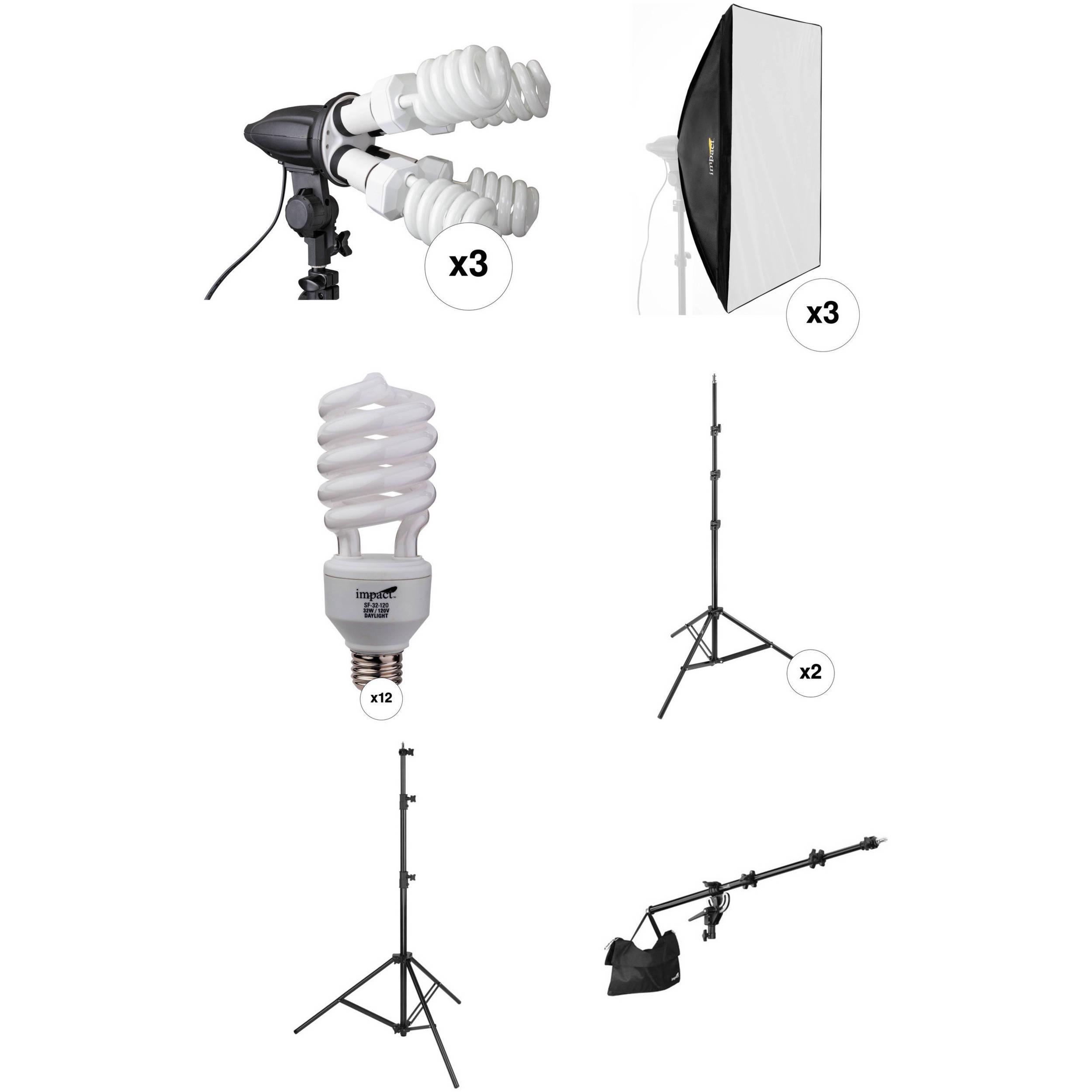 Impact 3 Head Fluorescent Lighting Kit With Boom Arm