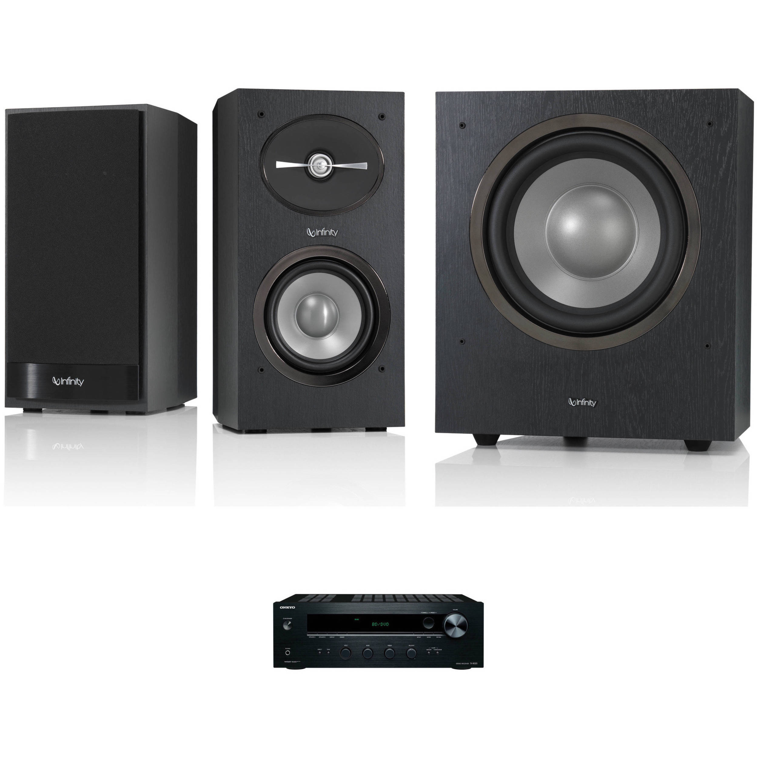 Infinity Reference R152 2 Way Bookshelf Speakers And R10 Subwoofer Kit Black