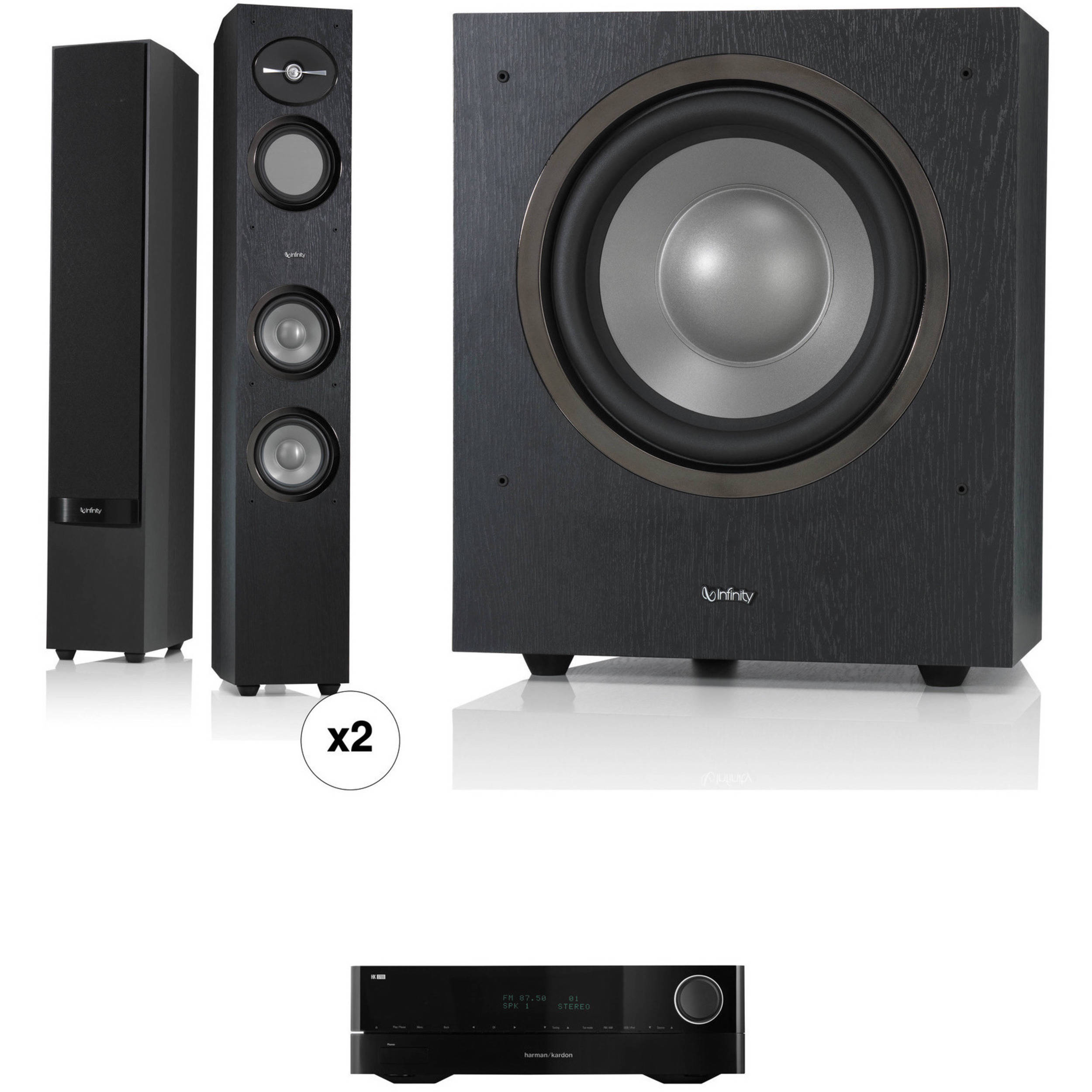 speakers subwoofer. infinity reference r253 3-way floor-standing speakers and r10 subwoofer kit (black