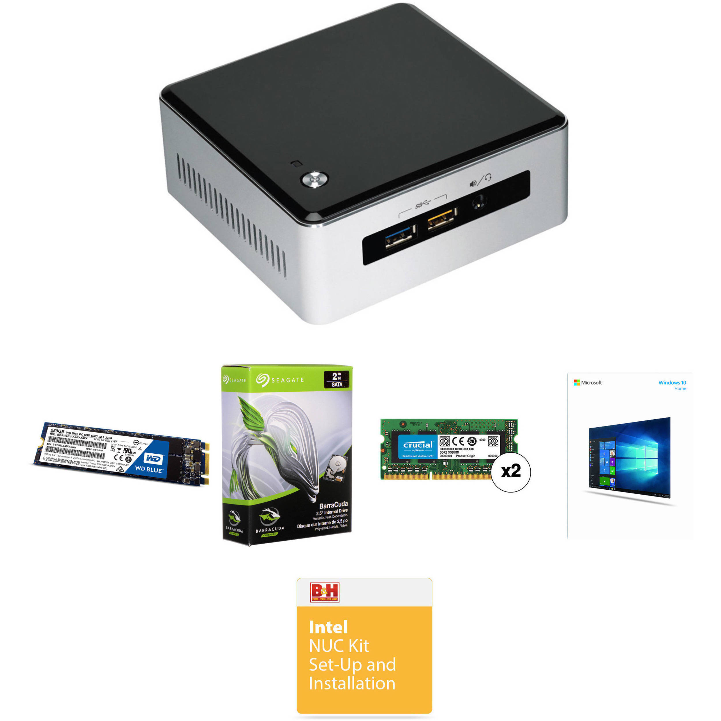 Intel Nuc5i3ryh Mini Pc Nuc Bundle With 16gb Ram 250gb Ssd Bh Hardisk 250 Gb Seagate Sata 2tb Hdd