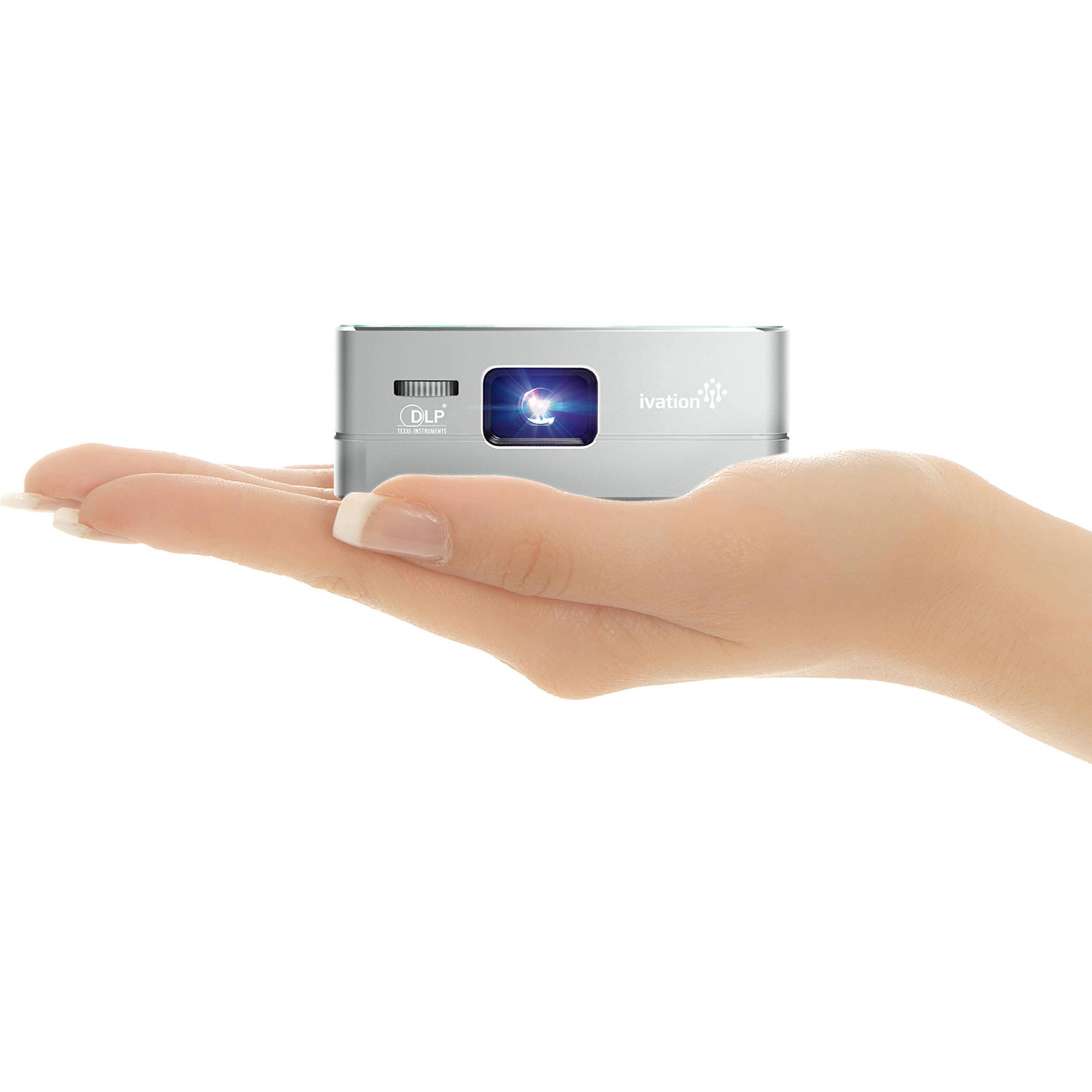 Ivation pro3 portable rechargeable smart dlp projector for Portable smart projector