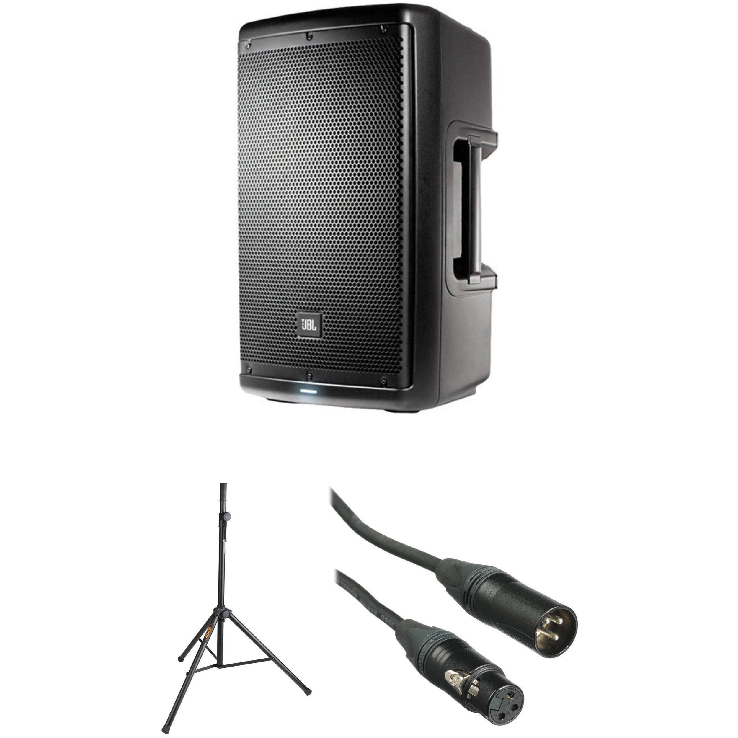 jbl 10 two way powered speaker system with stand and b h. Black Bedroom Furniture Sets. Home Design Ideas