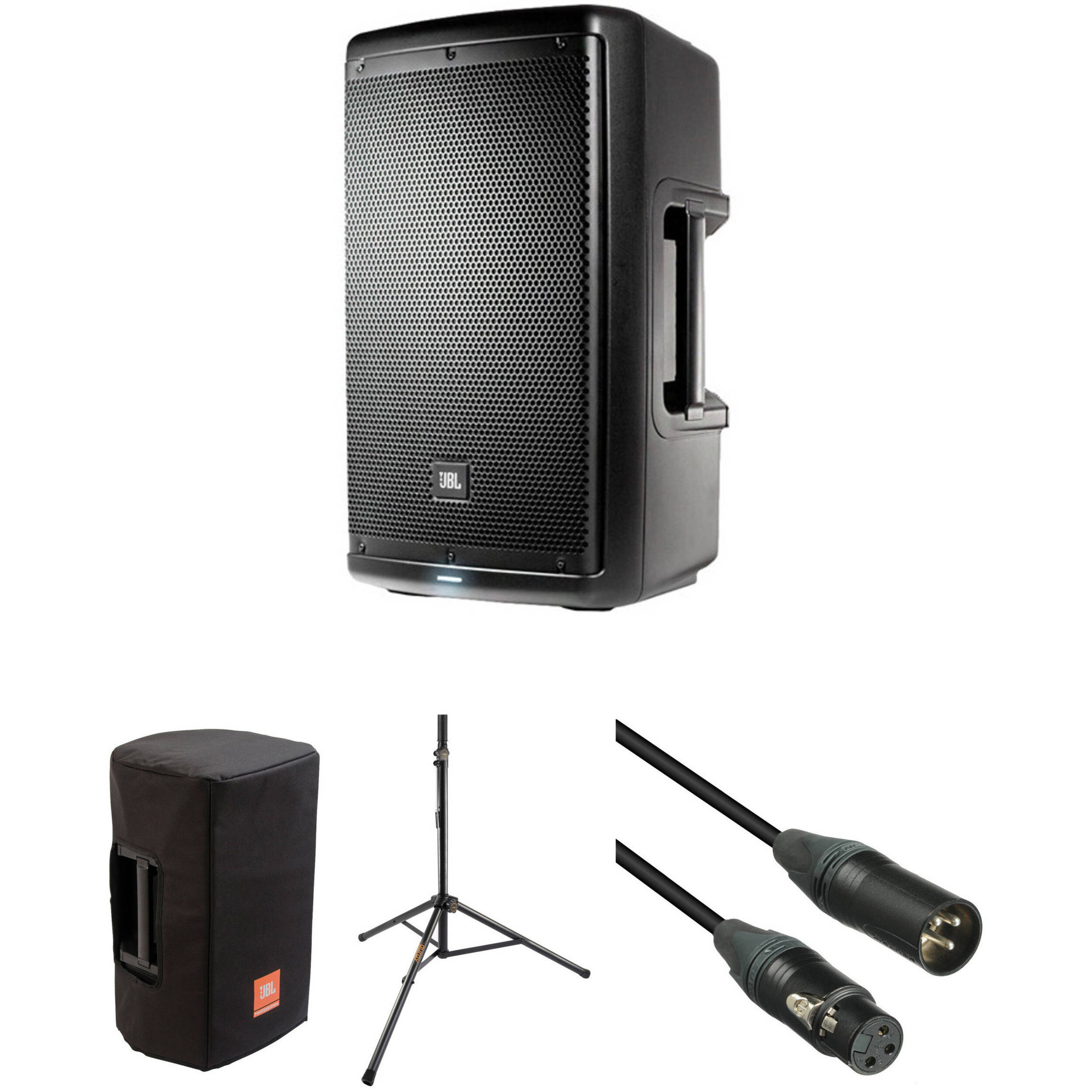 jbl eon610 10 powered speaker with speaker stand. Black Bedroom Furniture Sets. Home Design Ideas