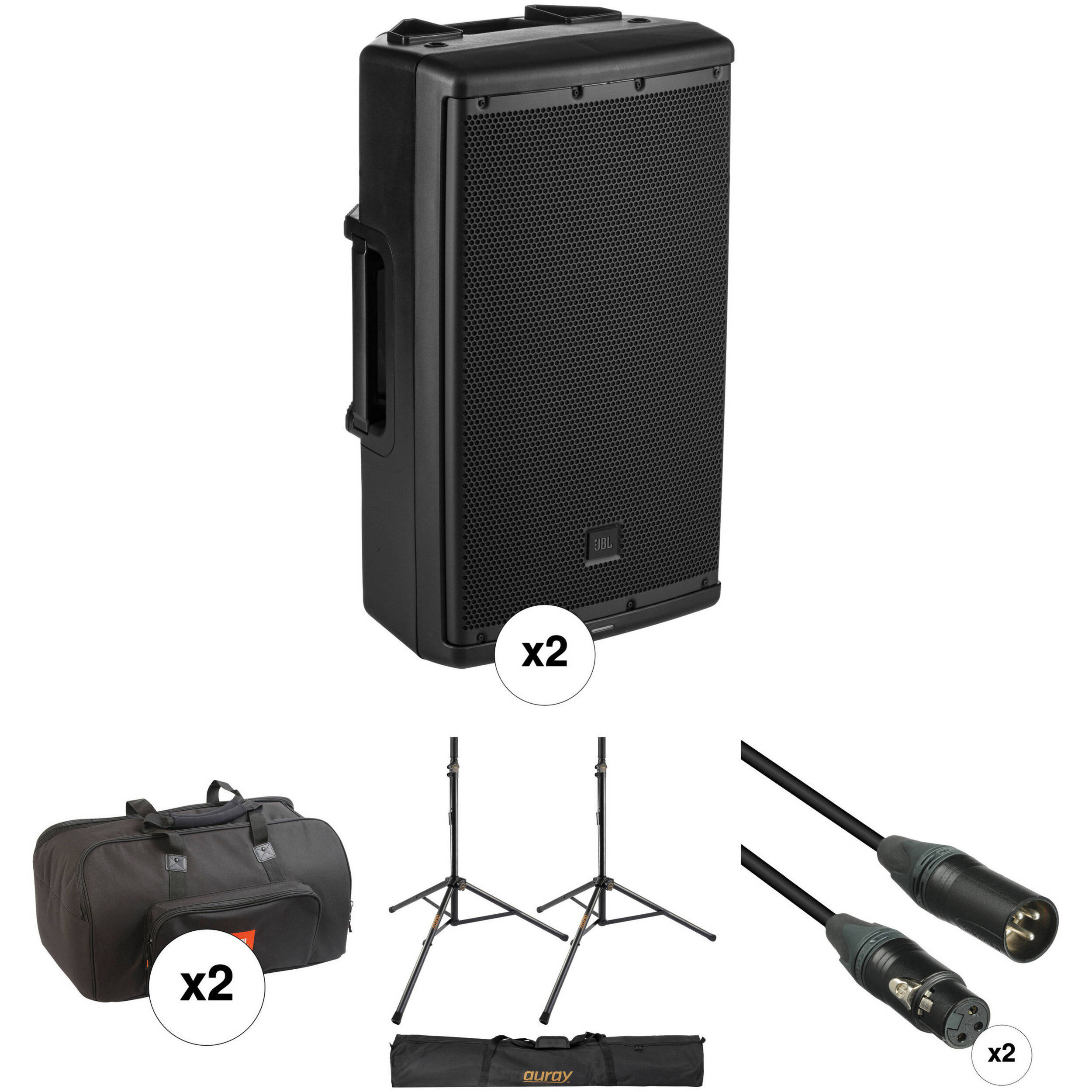jbl dual eon612 powered speaker kit with 2 x covers 2 x stands. Black Bedroom Furniture Sets. Home Design Ideas