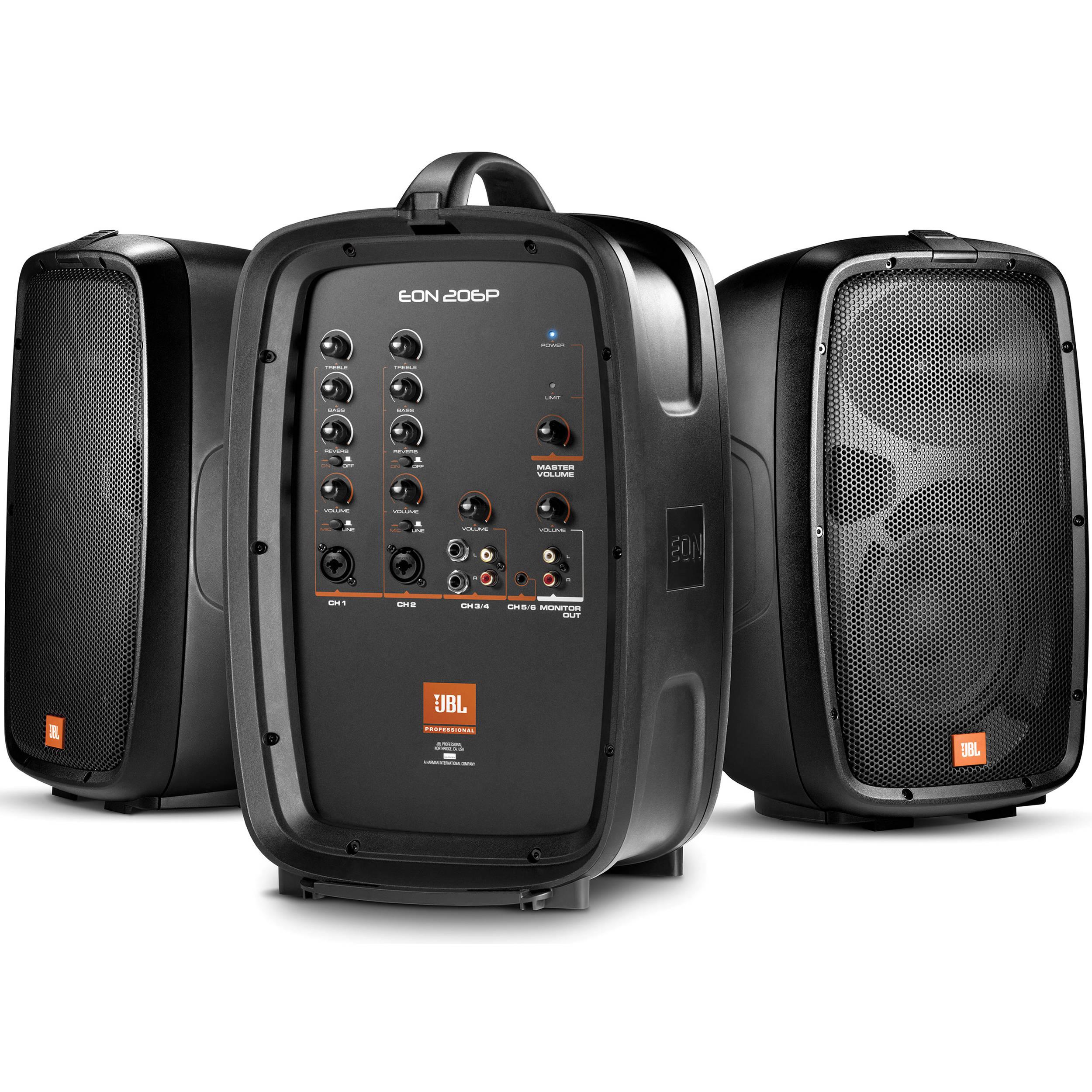 jbl eon206p portable 6 5 two way pa system eon206p b h. Black Bedroom Furniture Sets. Home Design Ideas