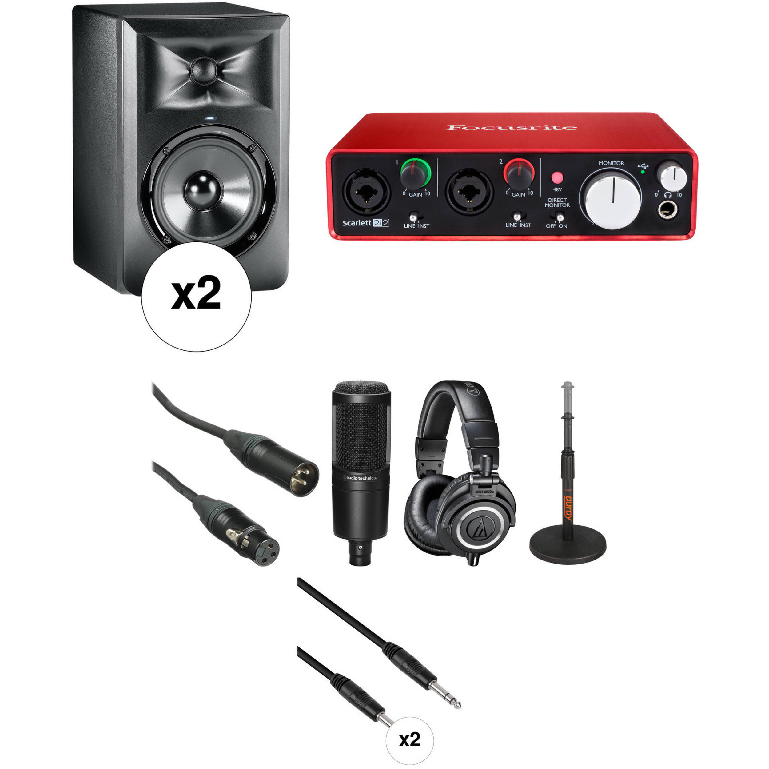 jbl professional. jbl professional recording kit with lsr305 monitors, audio interface, microphone, and headphones jbl c