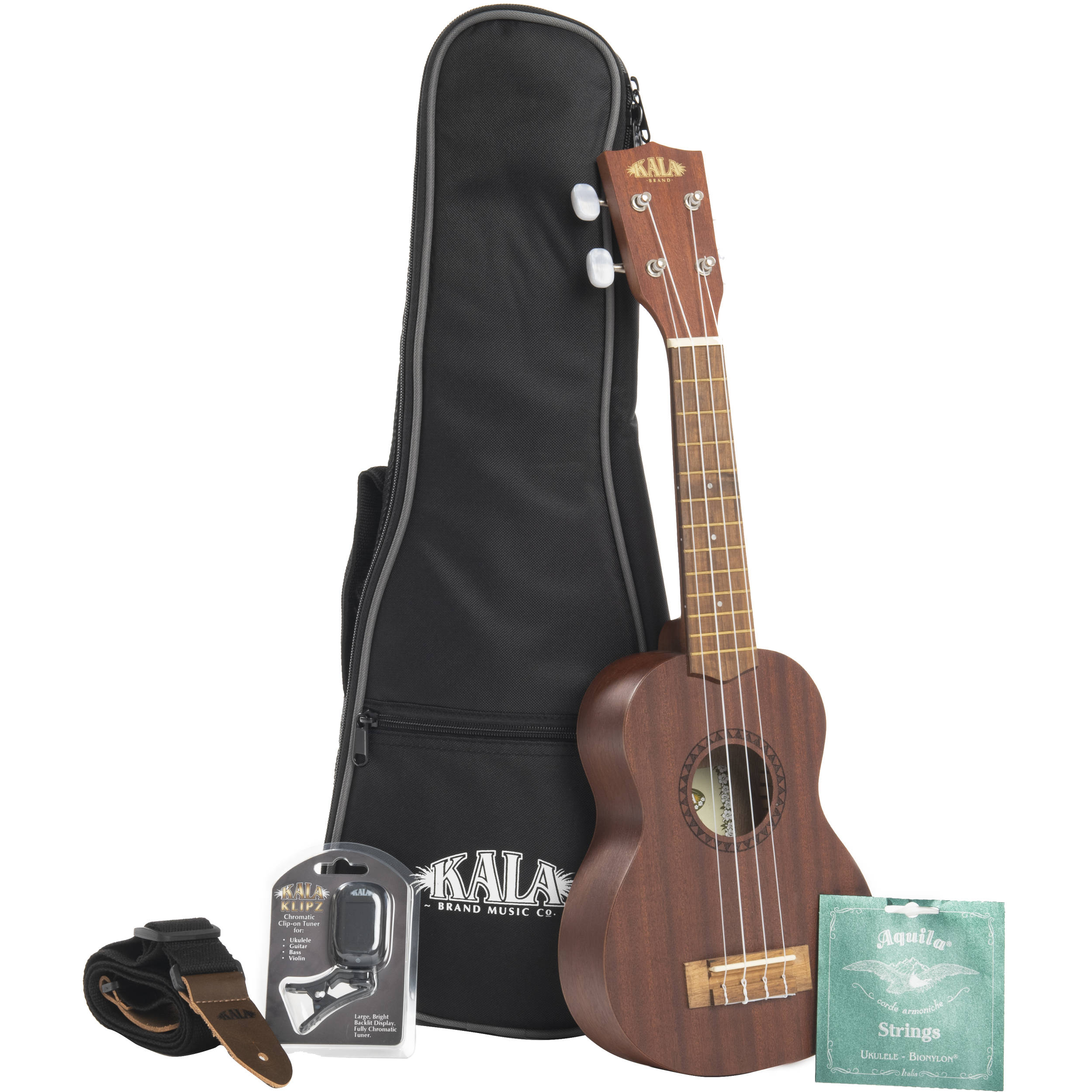 KALA Satin Mahogany Tenor Ukulele Bundle (with  Case/Tuner/Strap/Strings/More)