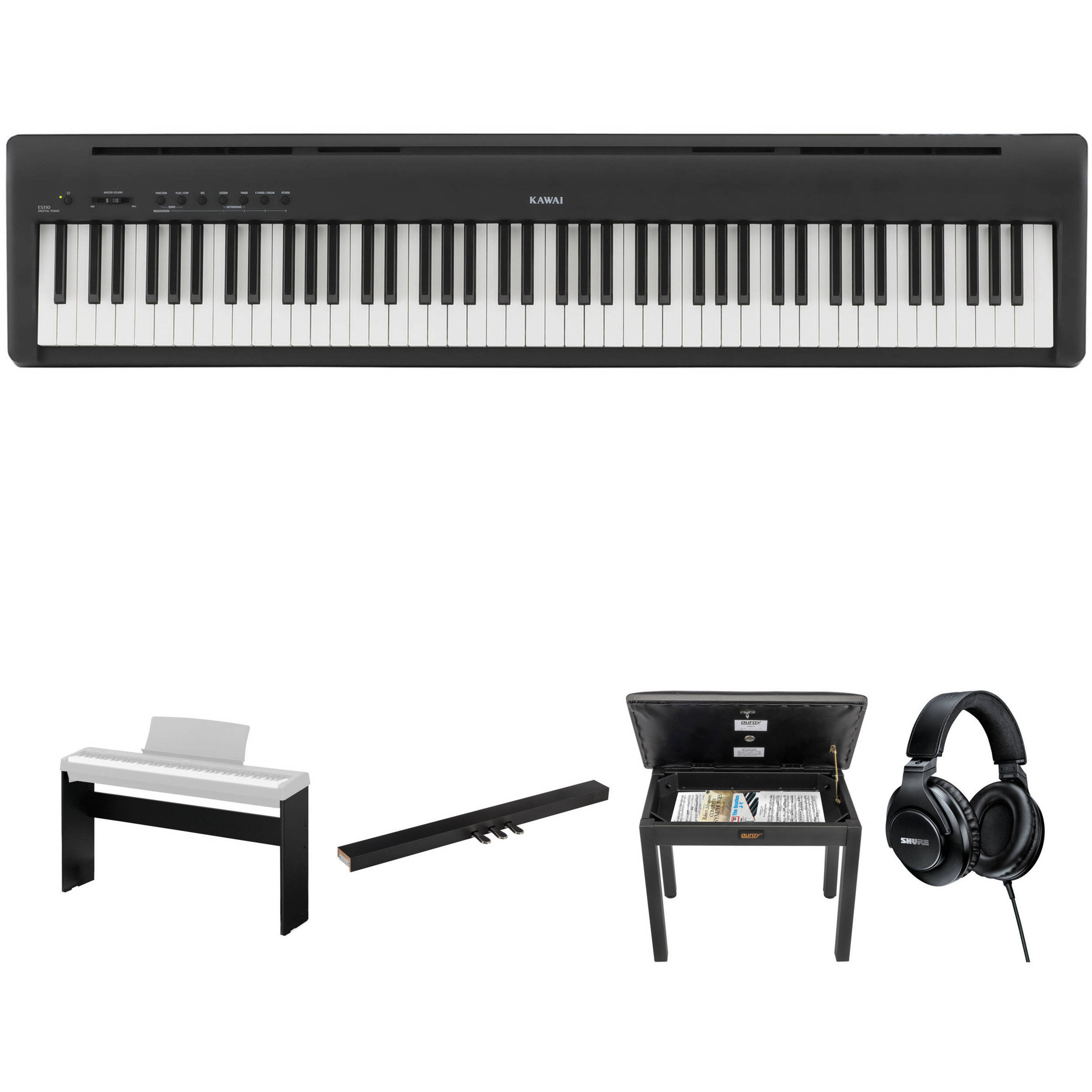 kawai es 110 portable digital piano kit with stand pedal b h. Black Bedroom Furniture Sets. Home Design Ideas