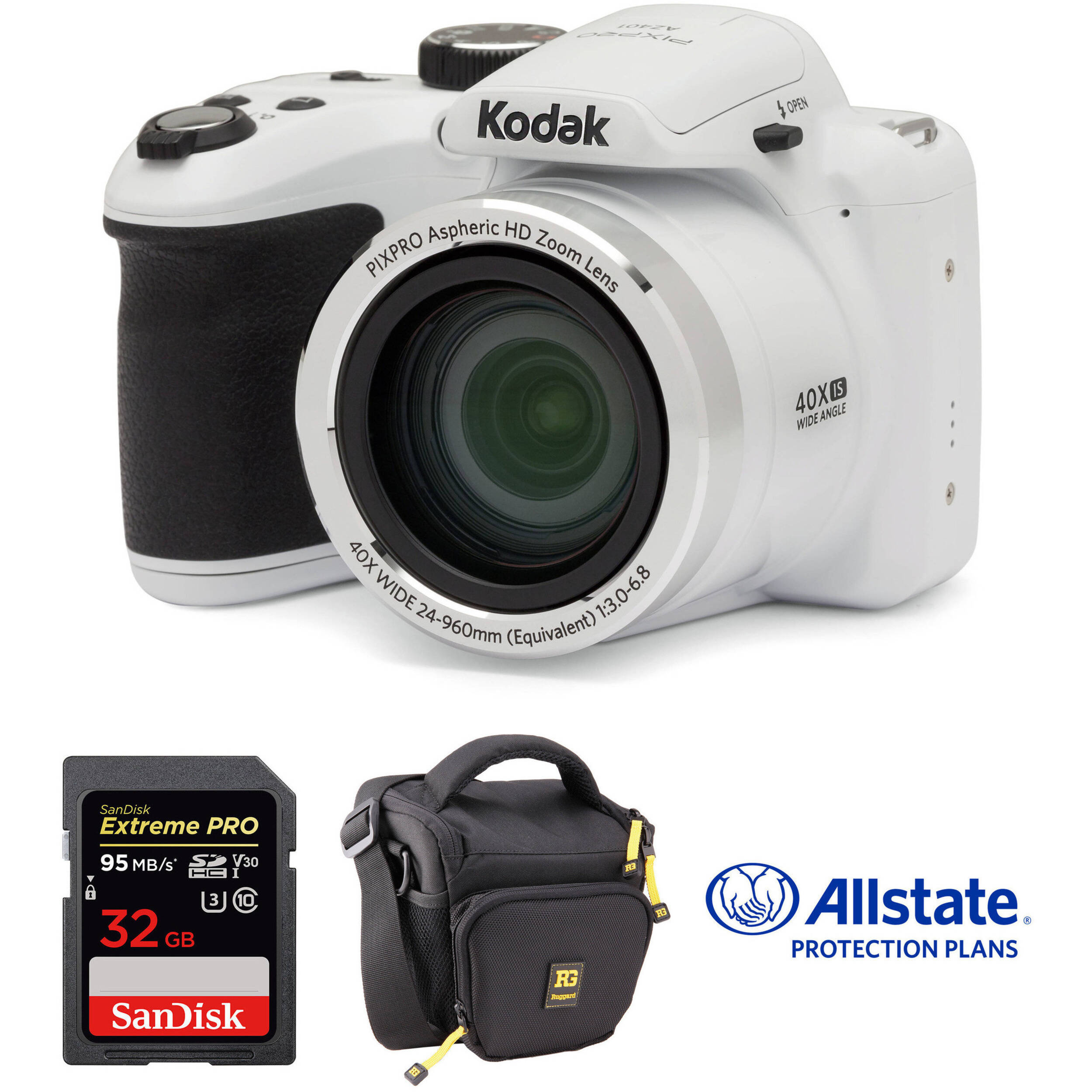 Kodak PIXPRO AZ401 Digital Camera Deluxe Kit (White)