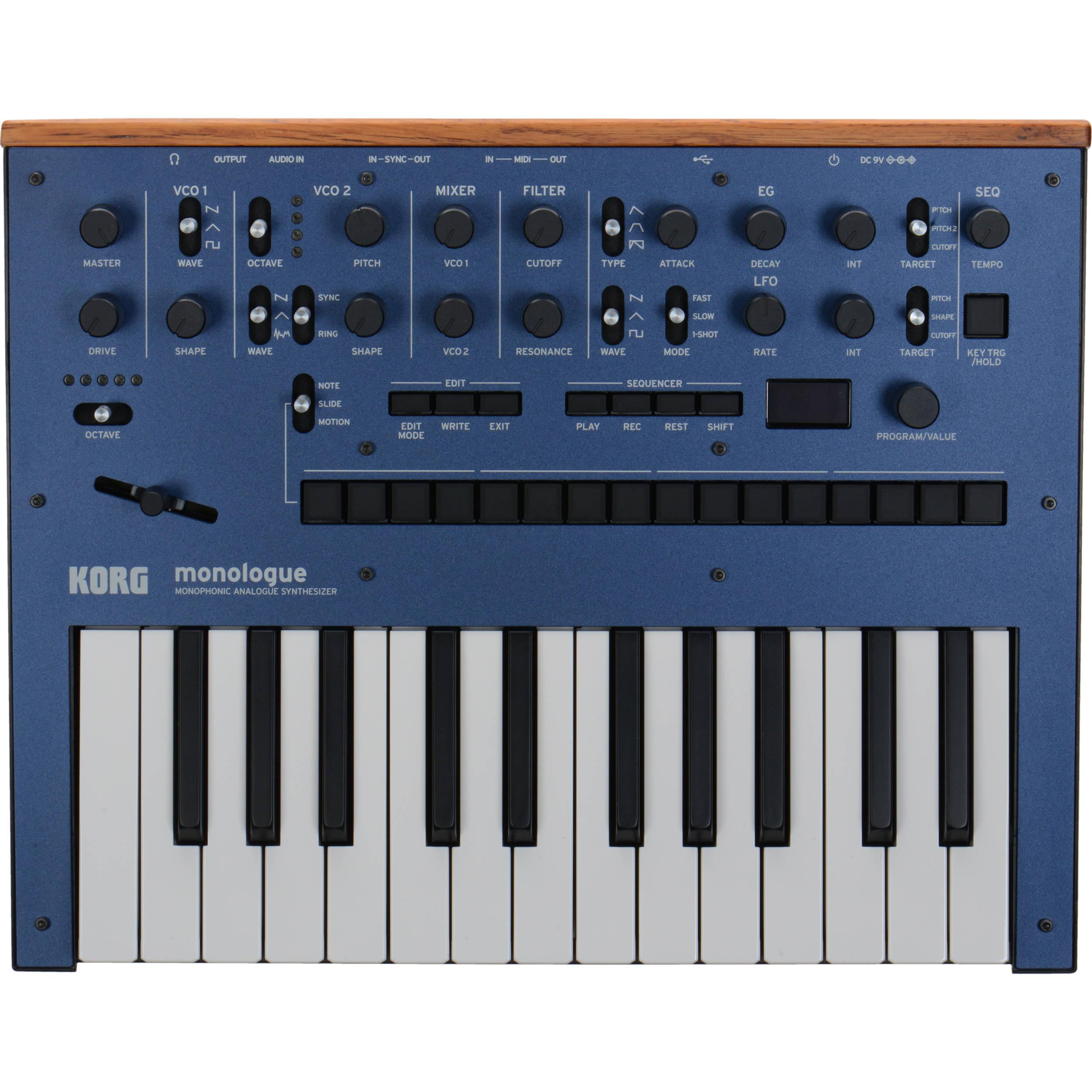 b07011a2811 Korg Monologue Monophonic Analog Synthesizer (Blue) MONOLOGUEBL