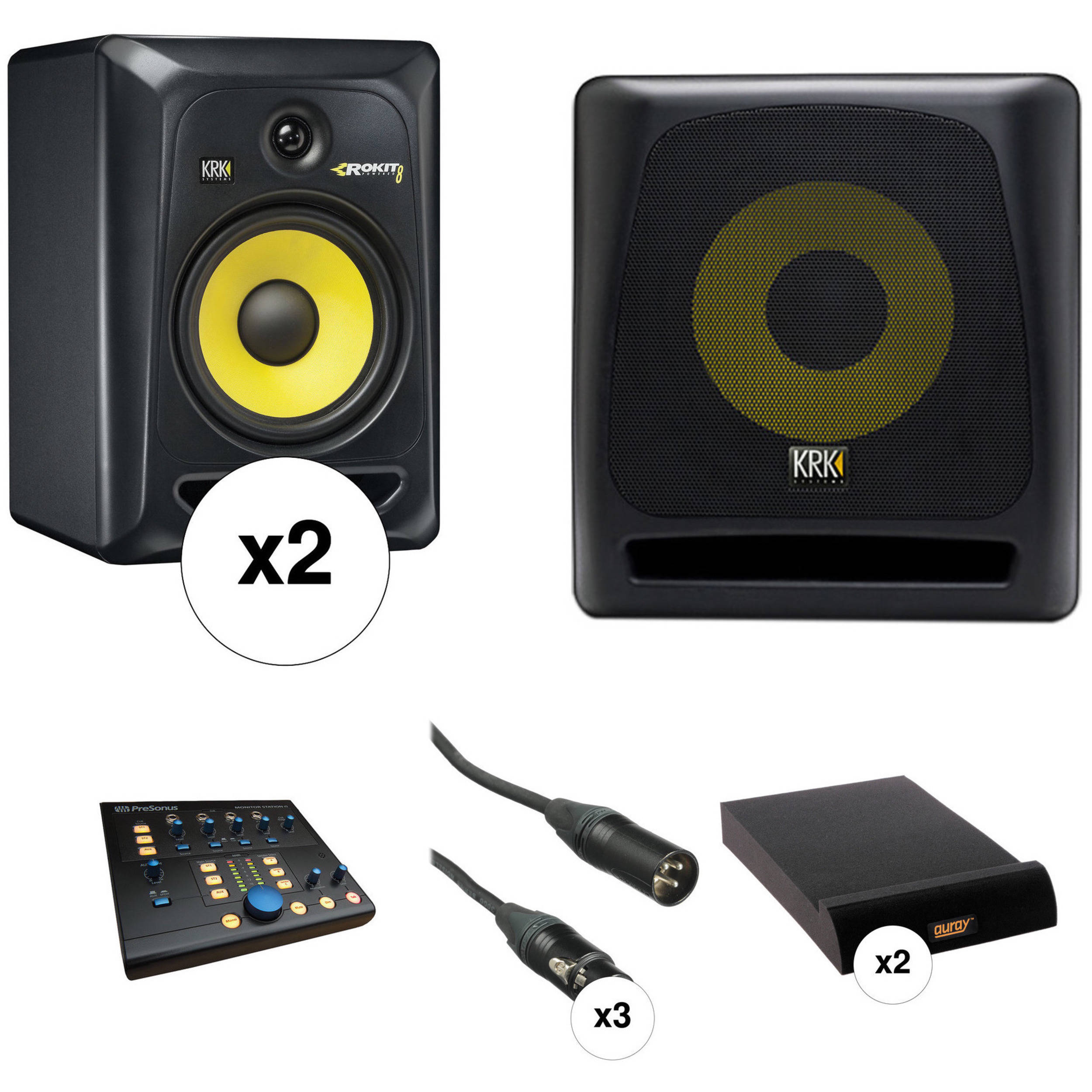 Krk Rokit 8 G3 Monitors And K10s Subwoofer With Monitor Bh Szx1302 Lowpass Power Amplifier Circuit Board Free Controller Kit