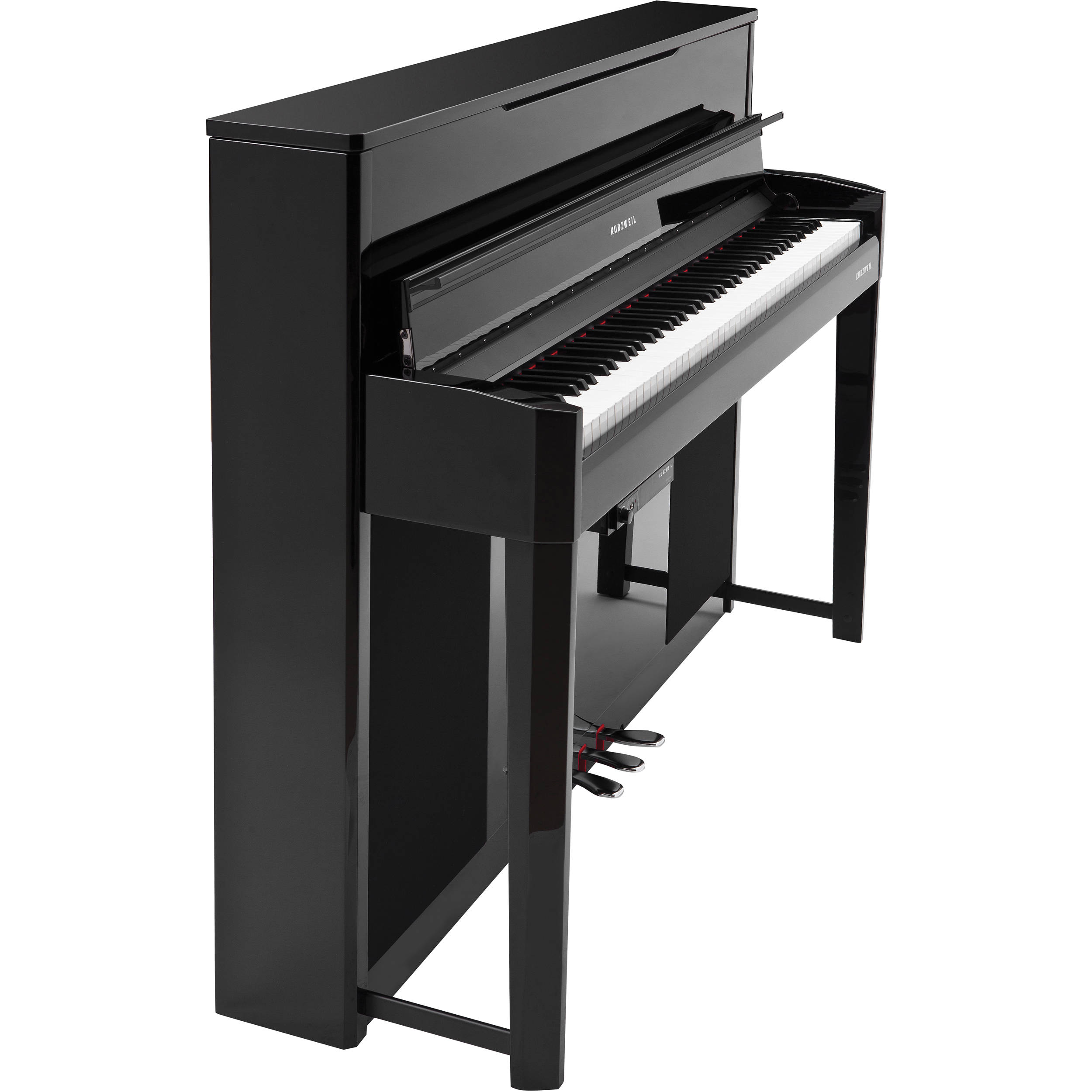 Kurzweil compact upright digital piano black cup2a bp b h for Small upright piano dimensions