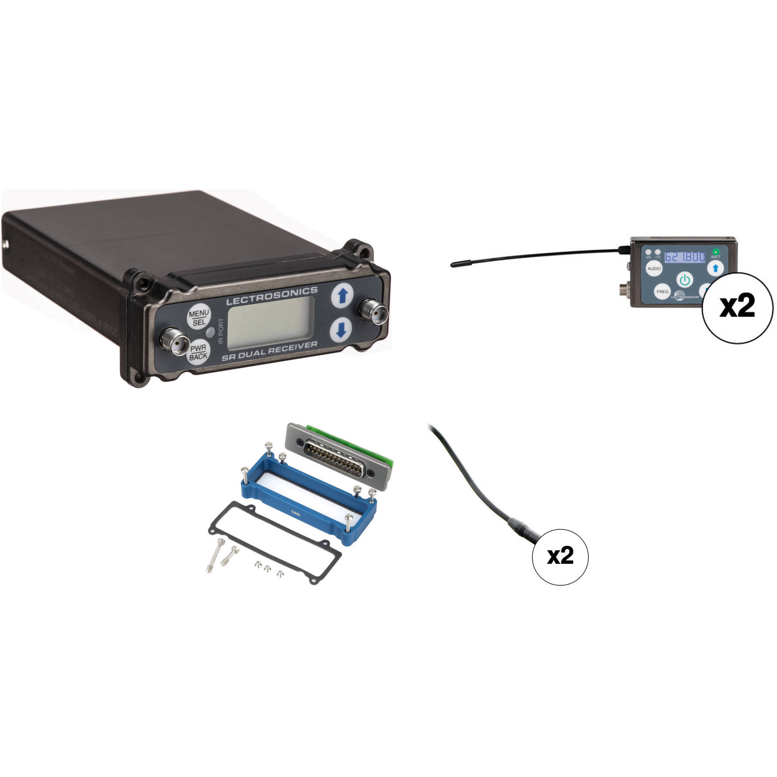 lectrosonics 2-person src wireless omni lavalier microphone system kit for  superslot dock (a1: 470 to 537 mhz)