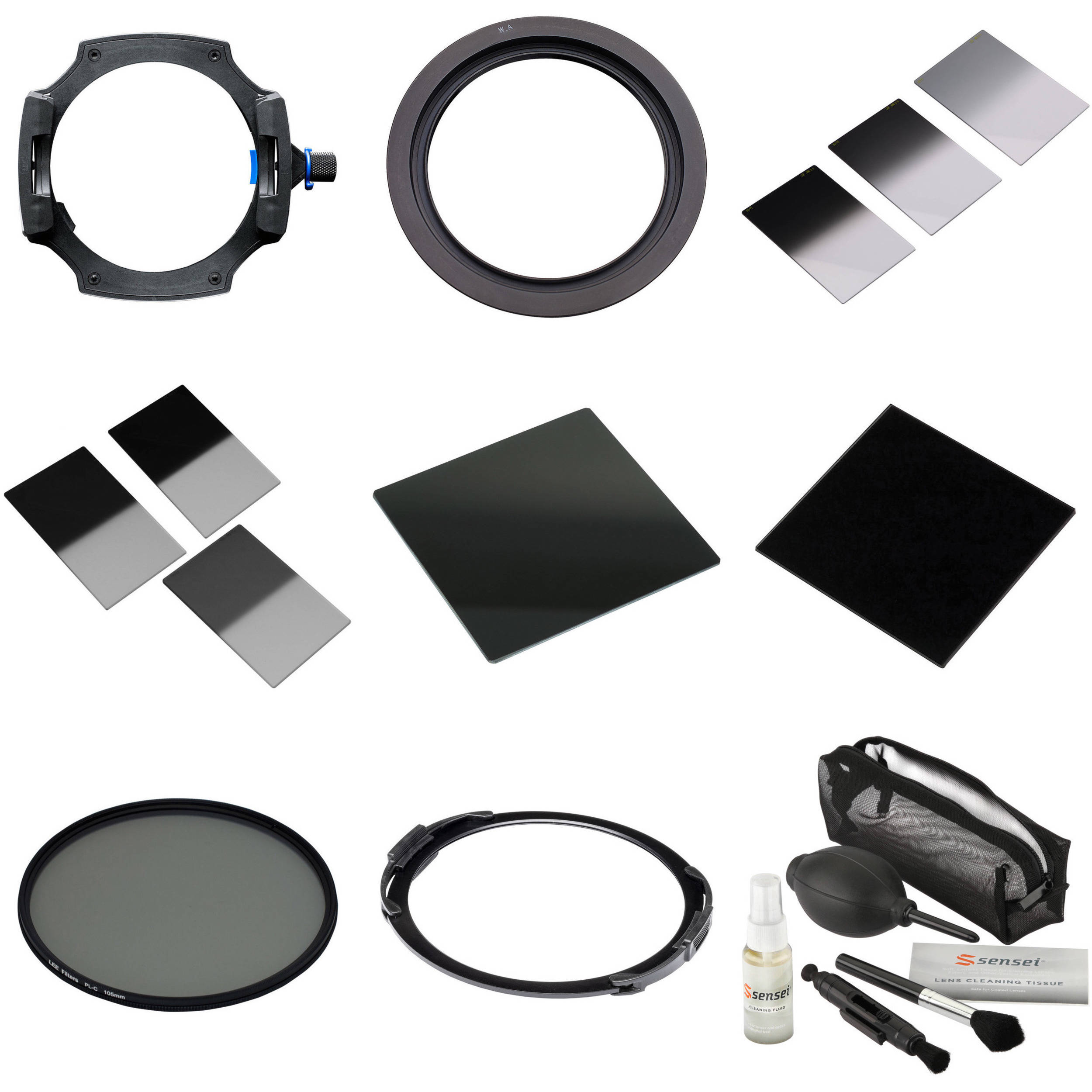 Lee Filters 100mm System Kit With 77mm Wide Angle Lens Adapter Double Slotted Hood Ring Solid Neutral