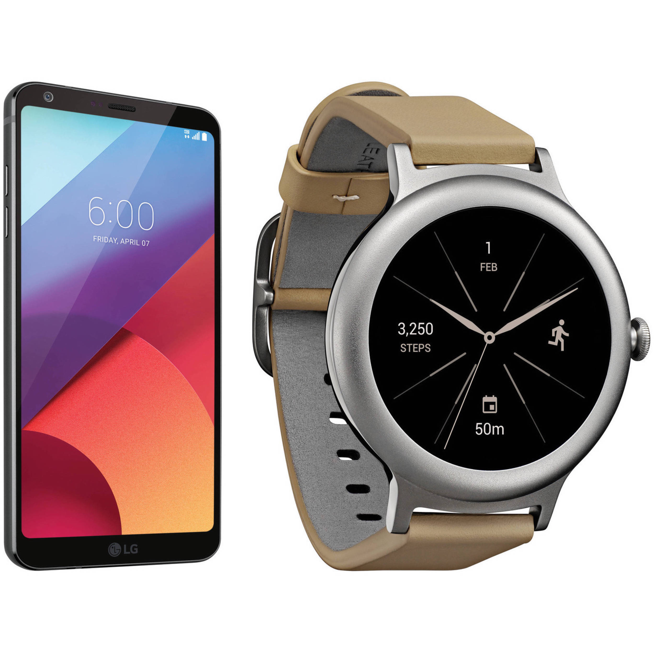 lg black g6 32gb smartphone kit with silver watch style b u0026h