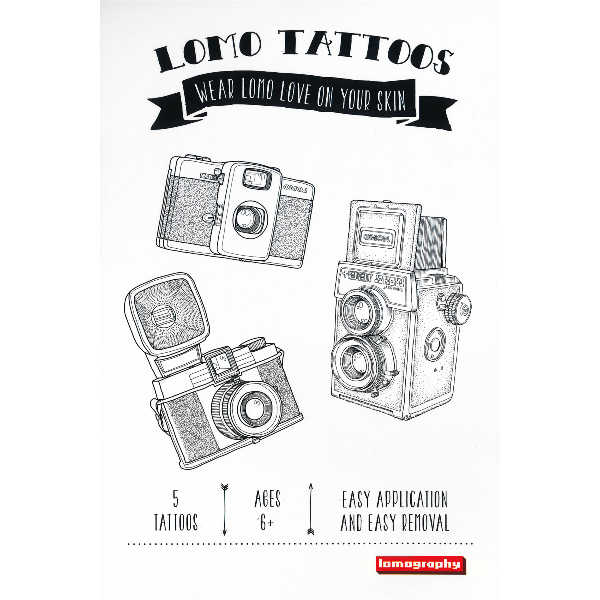 Lomography Temporary Tattoos 5 Pack Various Designs