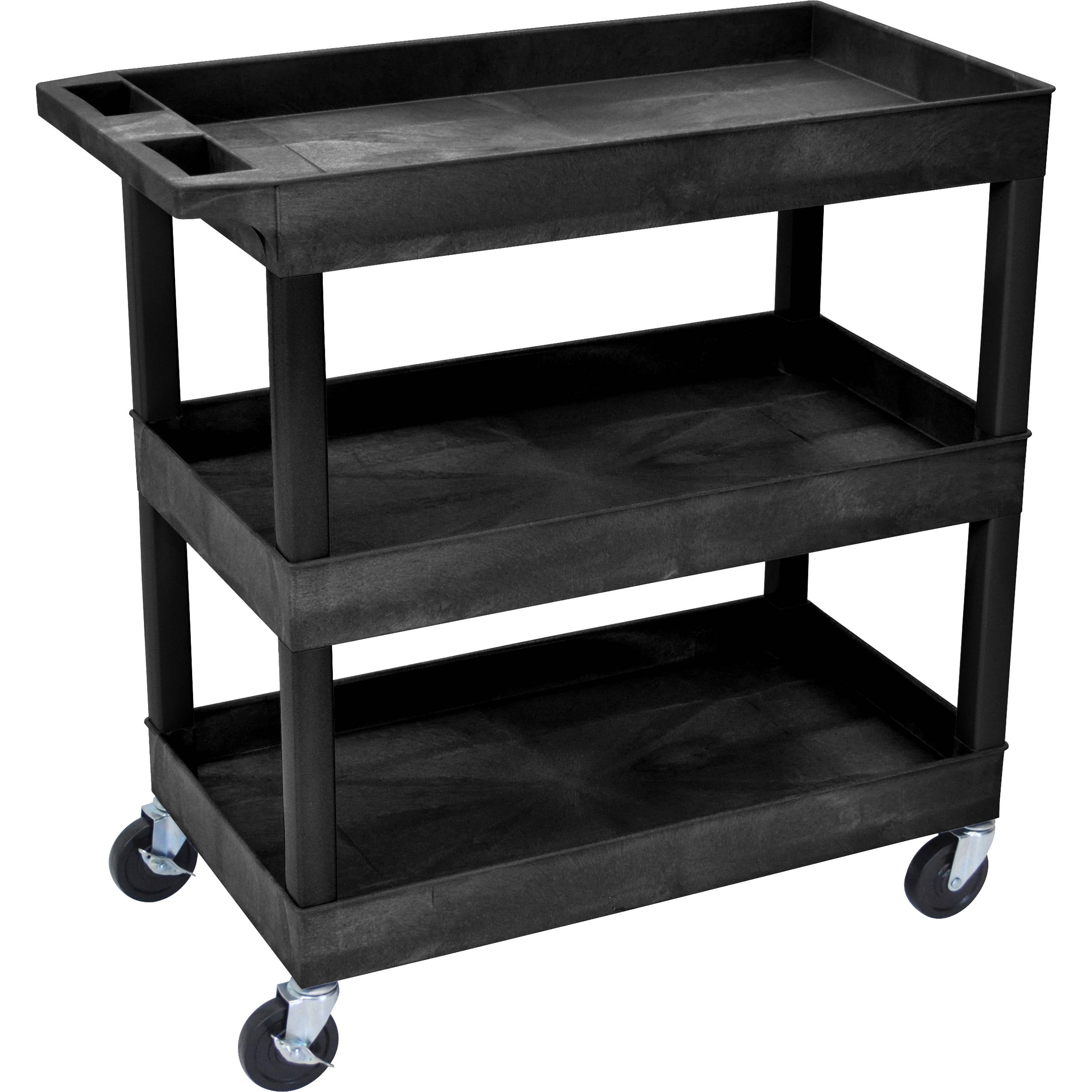 Luxor 32 X 18 Three Shelf Utility Cart Black Ec111 B