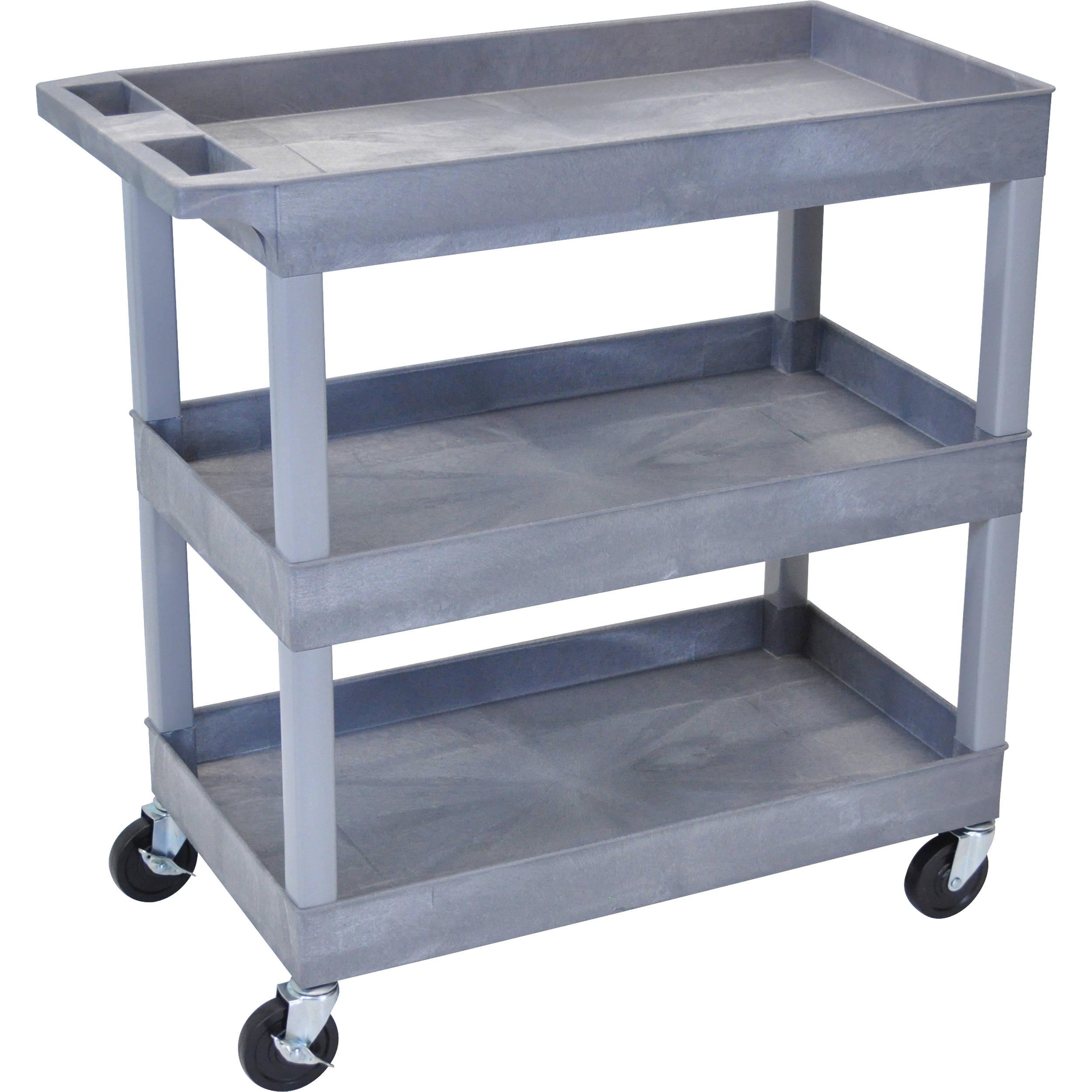 luxor rolling tub cart 3 shelves gray ec111 g b h photo. Black Bedroom Furniture Sets. Home Design Ideas