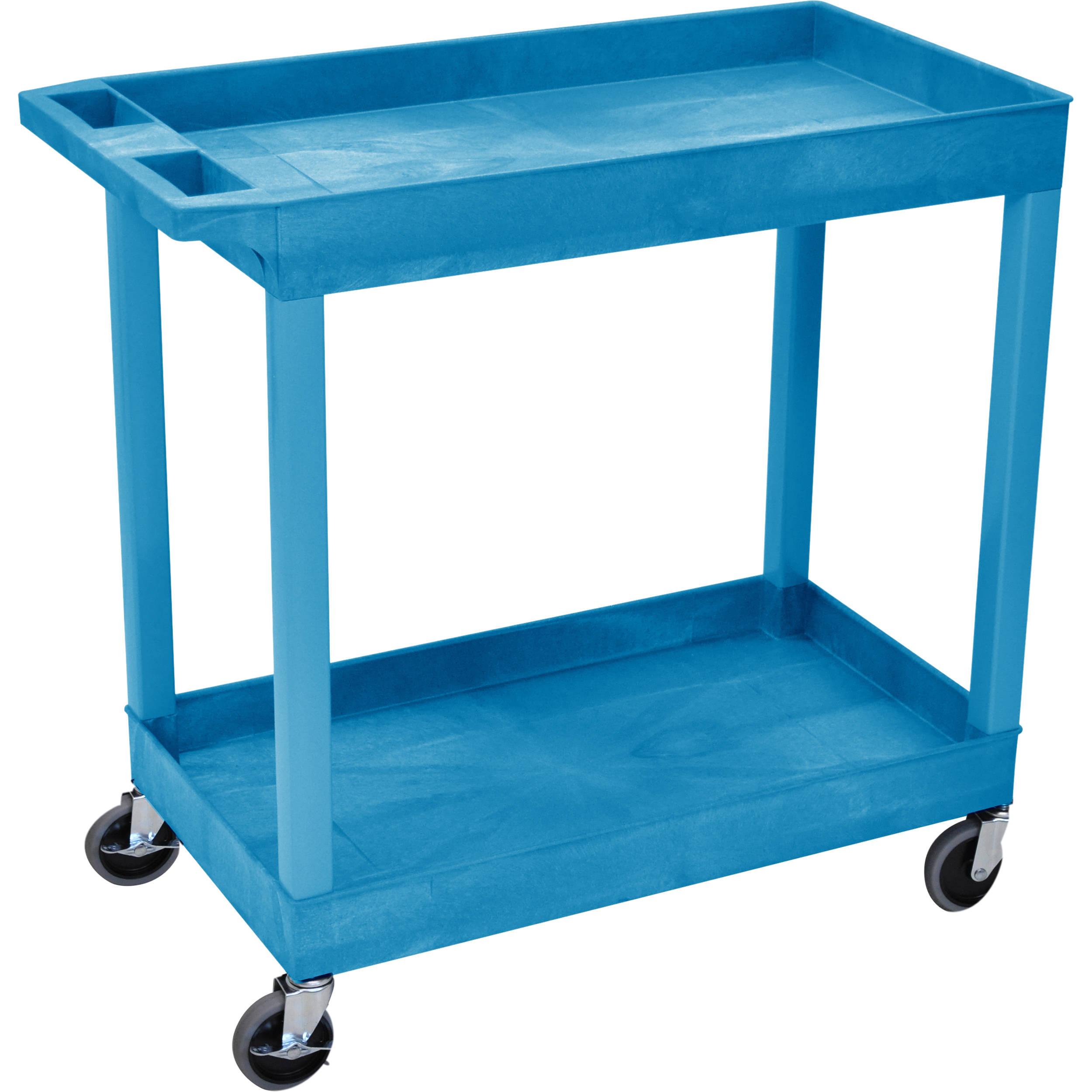 luxor rolling tub cart 2 shelves blue ec11 bu b h photo. Black Bedroom Furniture Sets. Home Design Ideas