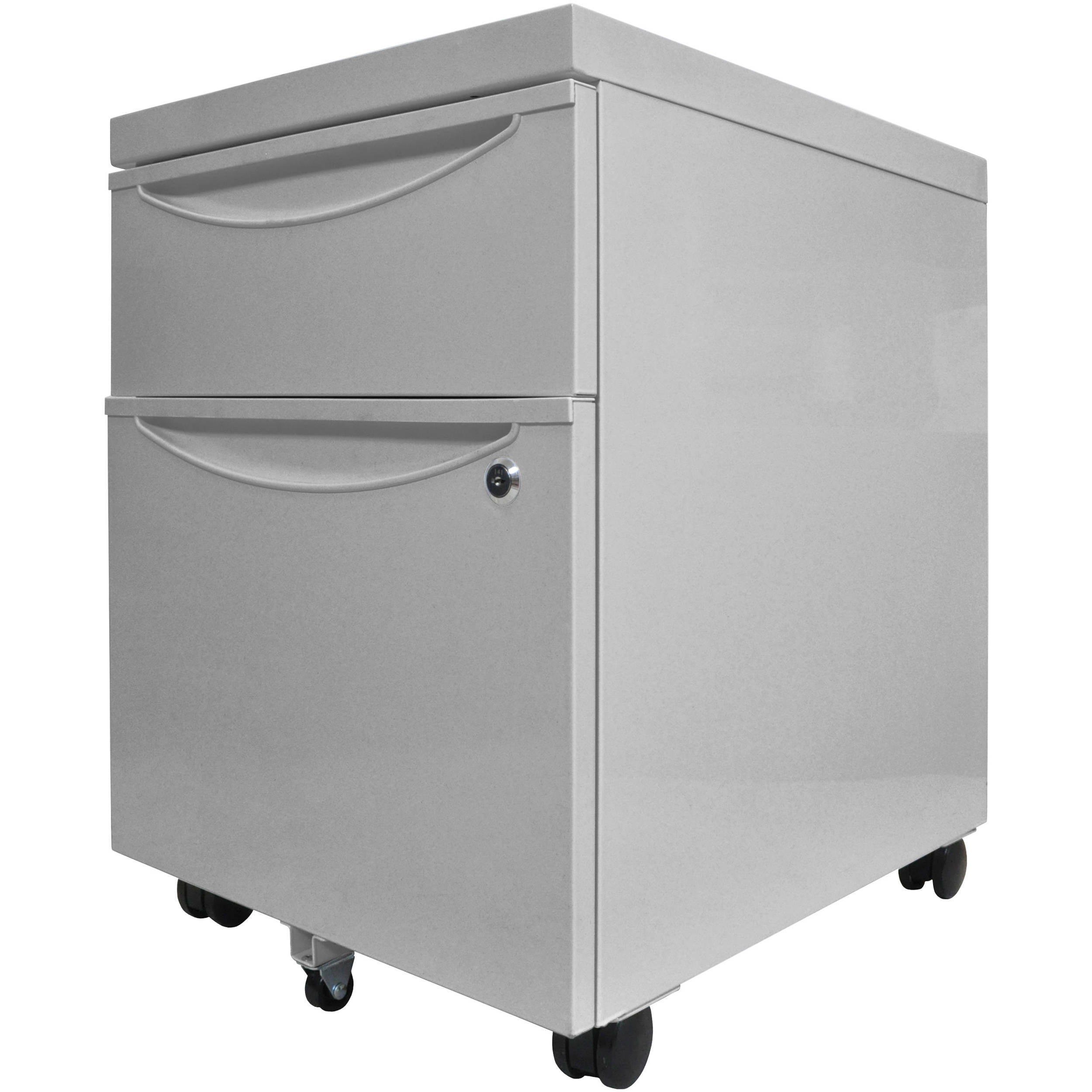Luxor Mobile Pedestal File Cabinet With Locking Drawer Gray