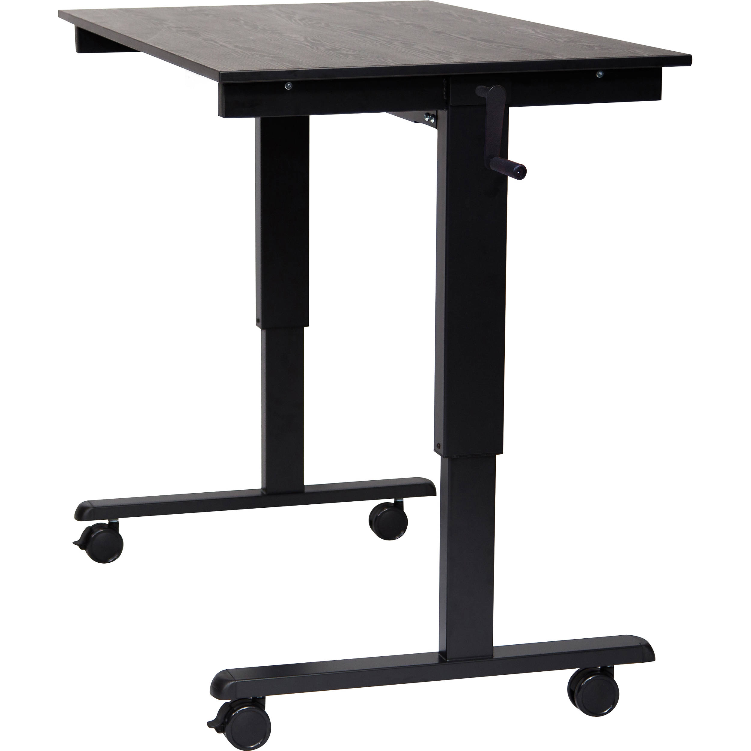 Luxor 48 crank adjustable stand up desk black oak desk black frame