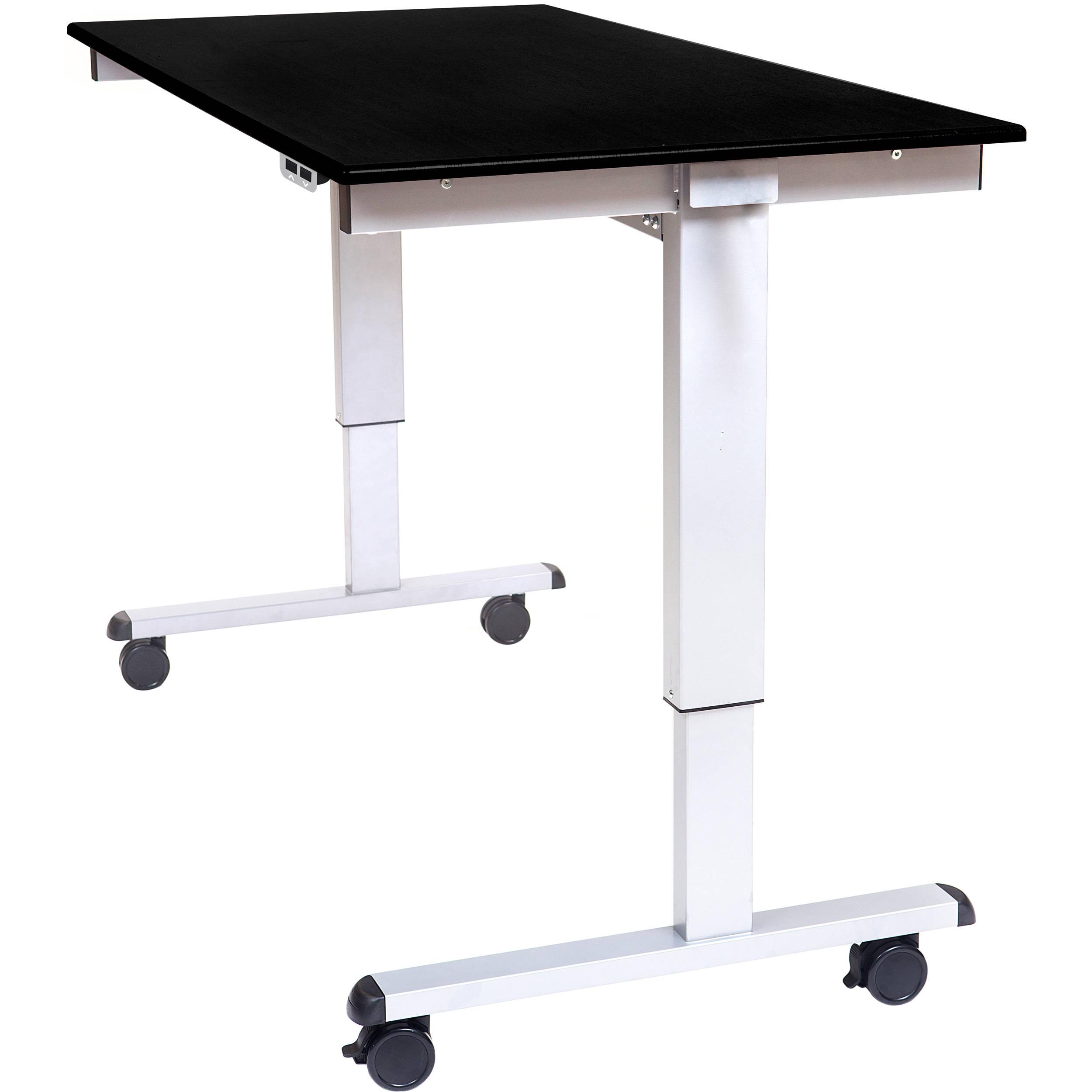 Luxor 60 Electric Standing Desk Black Oak Silver Frame
