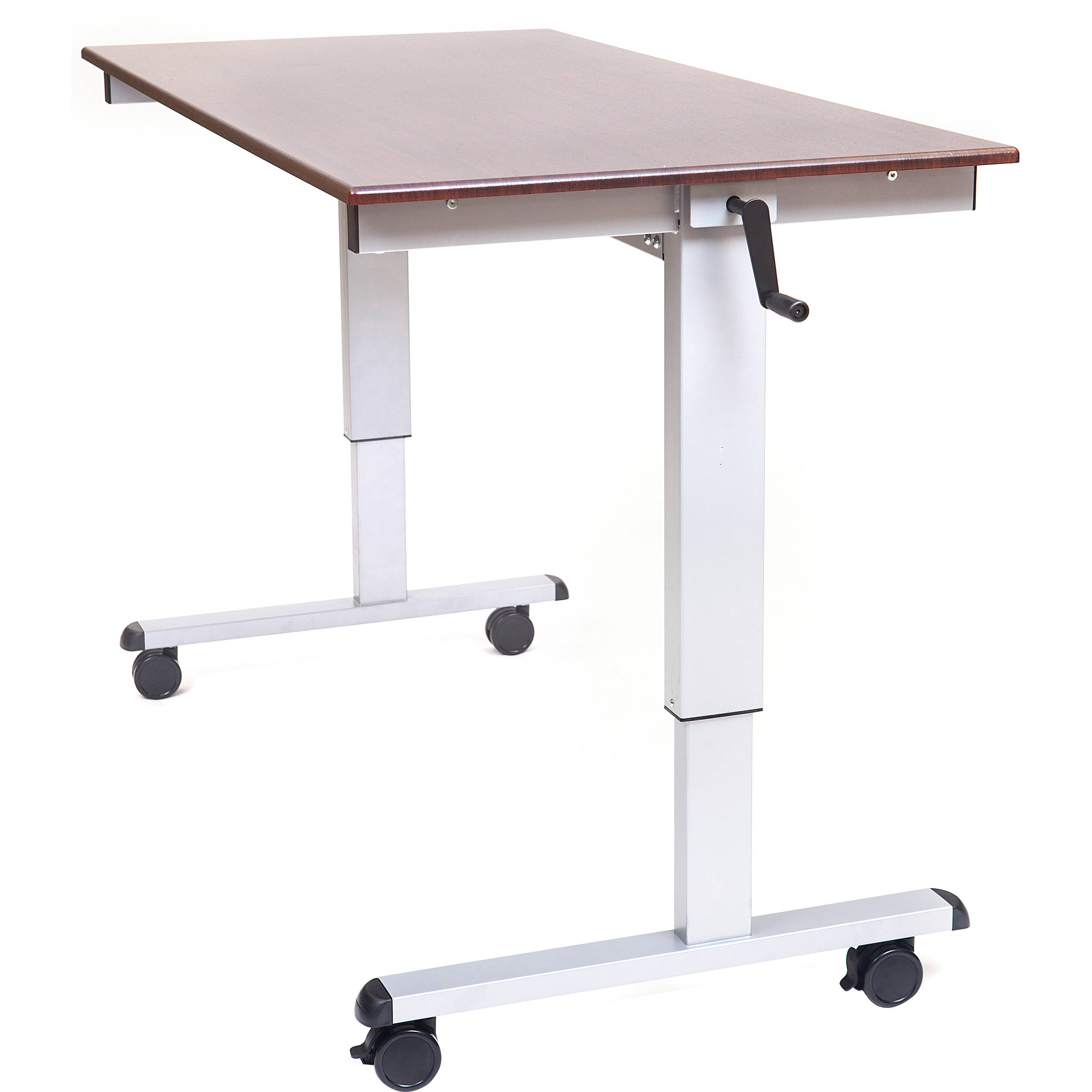 Luxor 60 crank adjustable stand up desk dark walnut desk silver frame