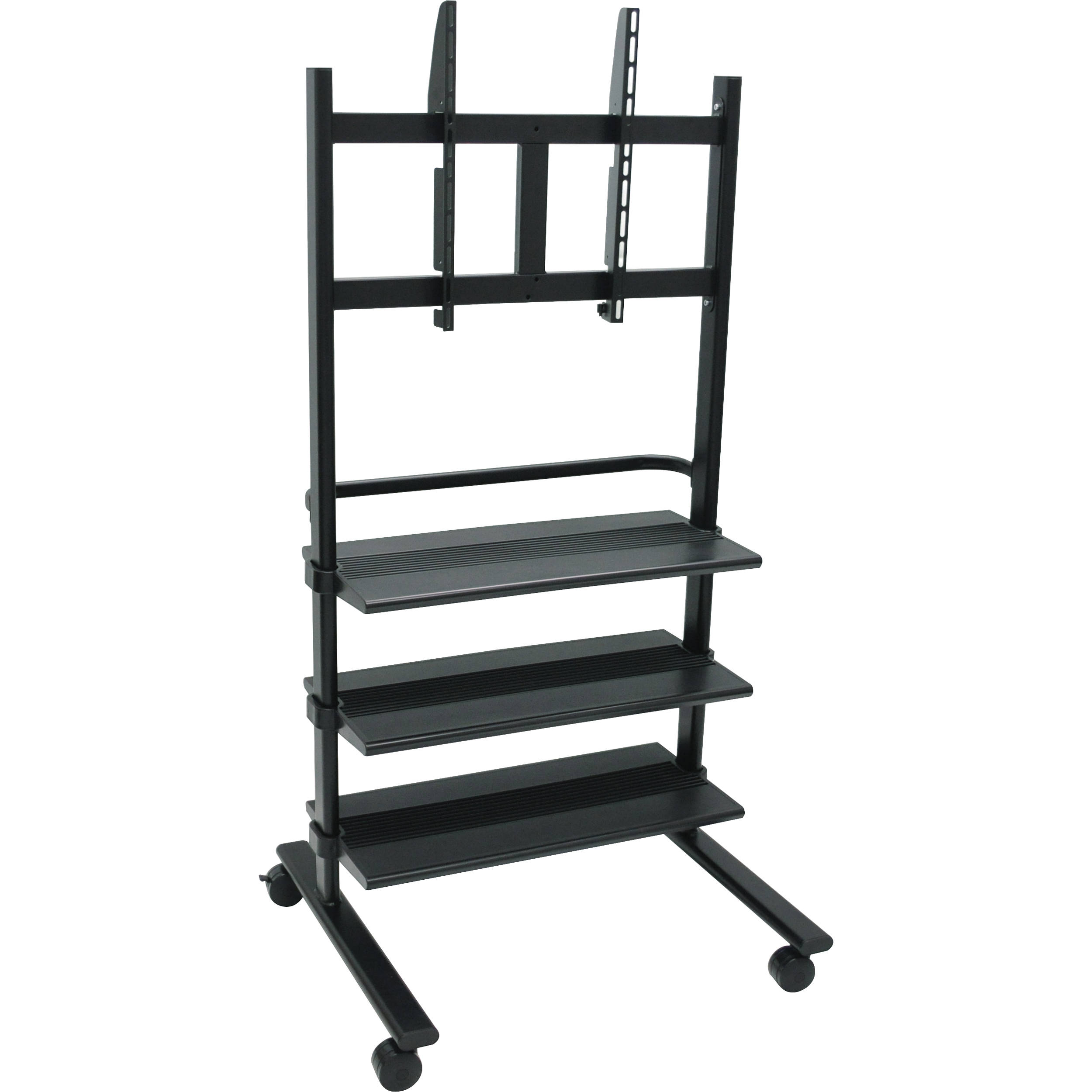 luxor wfp100b universal lcd tv stand with three shelves black - Flat Panel Tv Stands