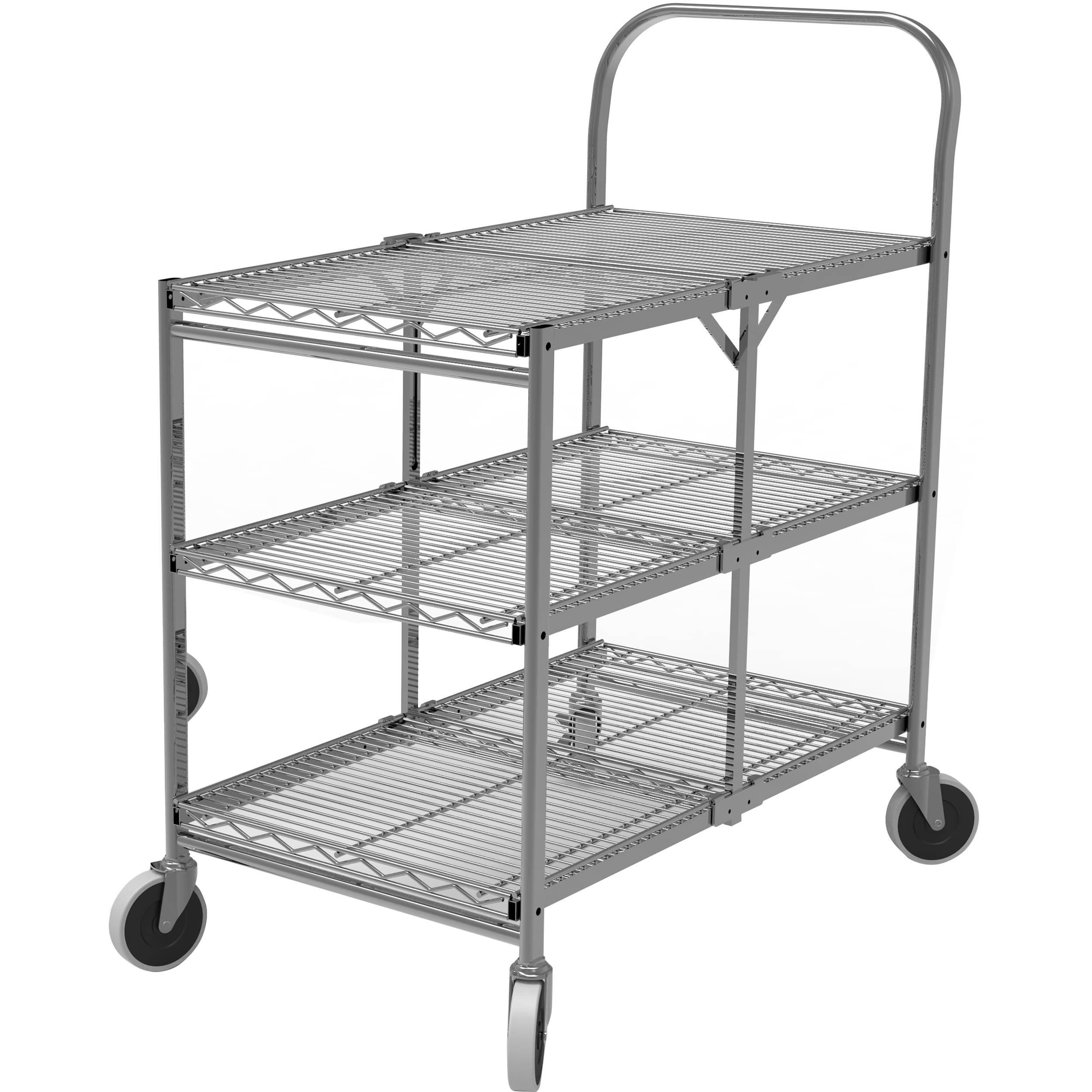 Luxor Three-Shelf Collapsible Wire Utility Cart WSCC-3 B&H Photo