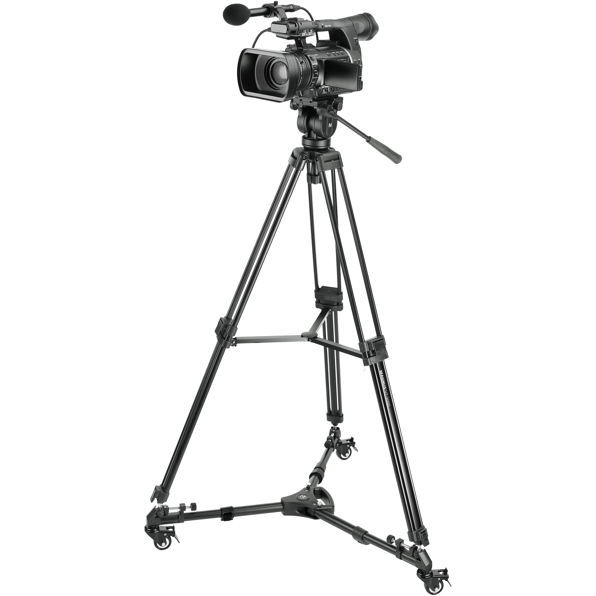 Magnus Vt 3000 Tripod With Fluid Head And Tripod Dolly