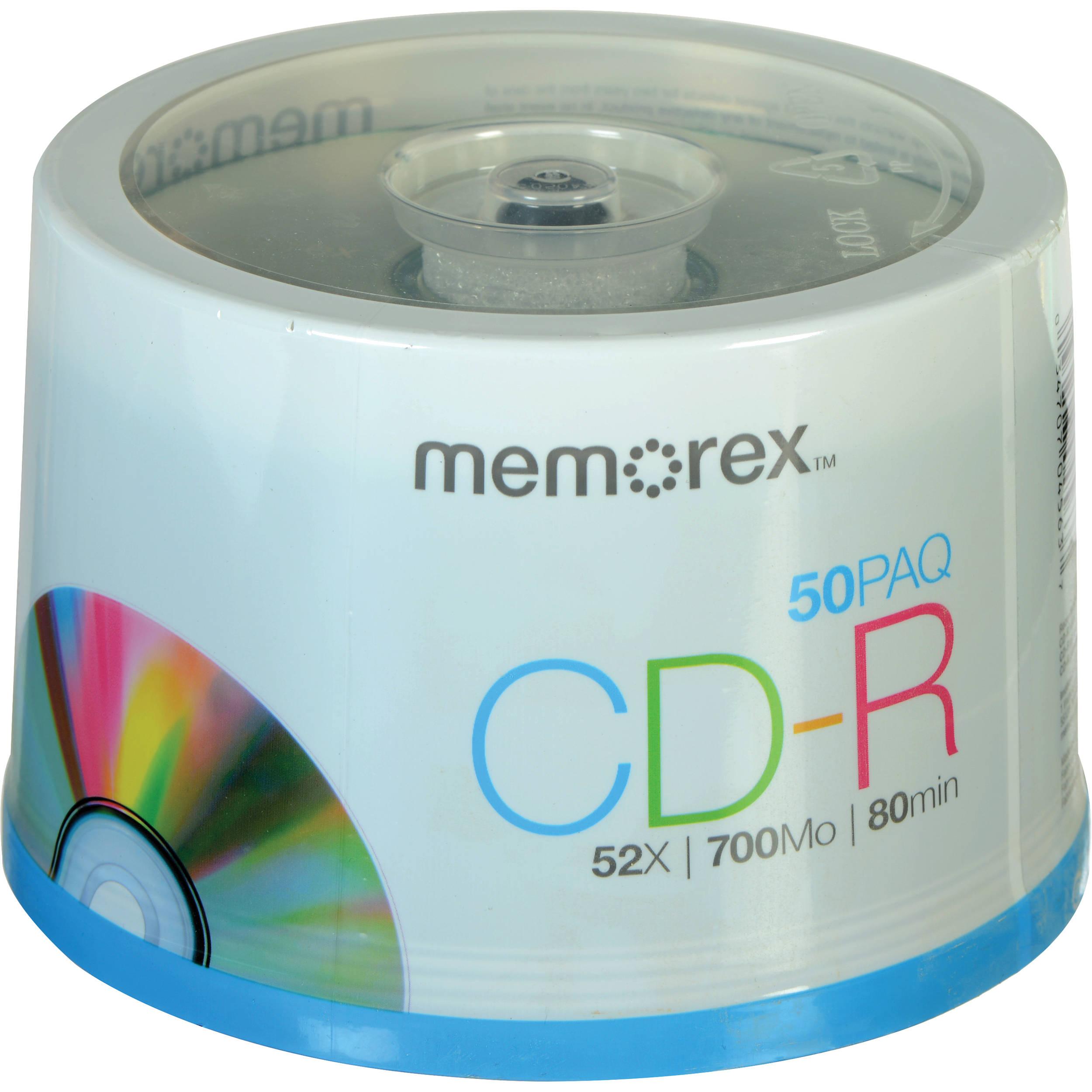memorex cd r 700mb 52x write once recordable discs 04563 b h. Black Bedroom Furniture Sets. Home Design Ideas