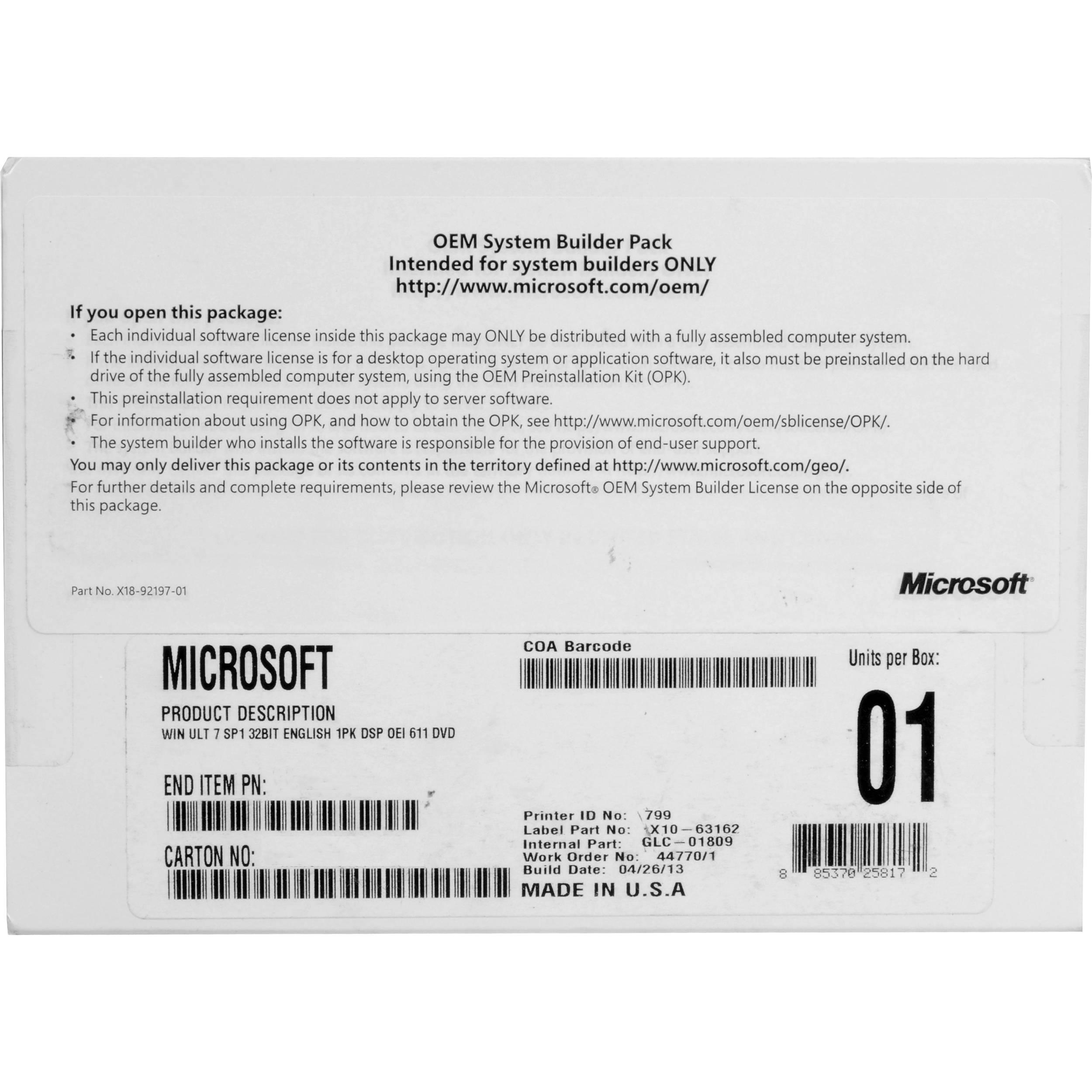 microsoft win 7 license