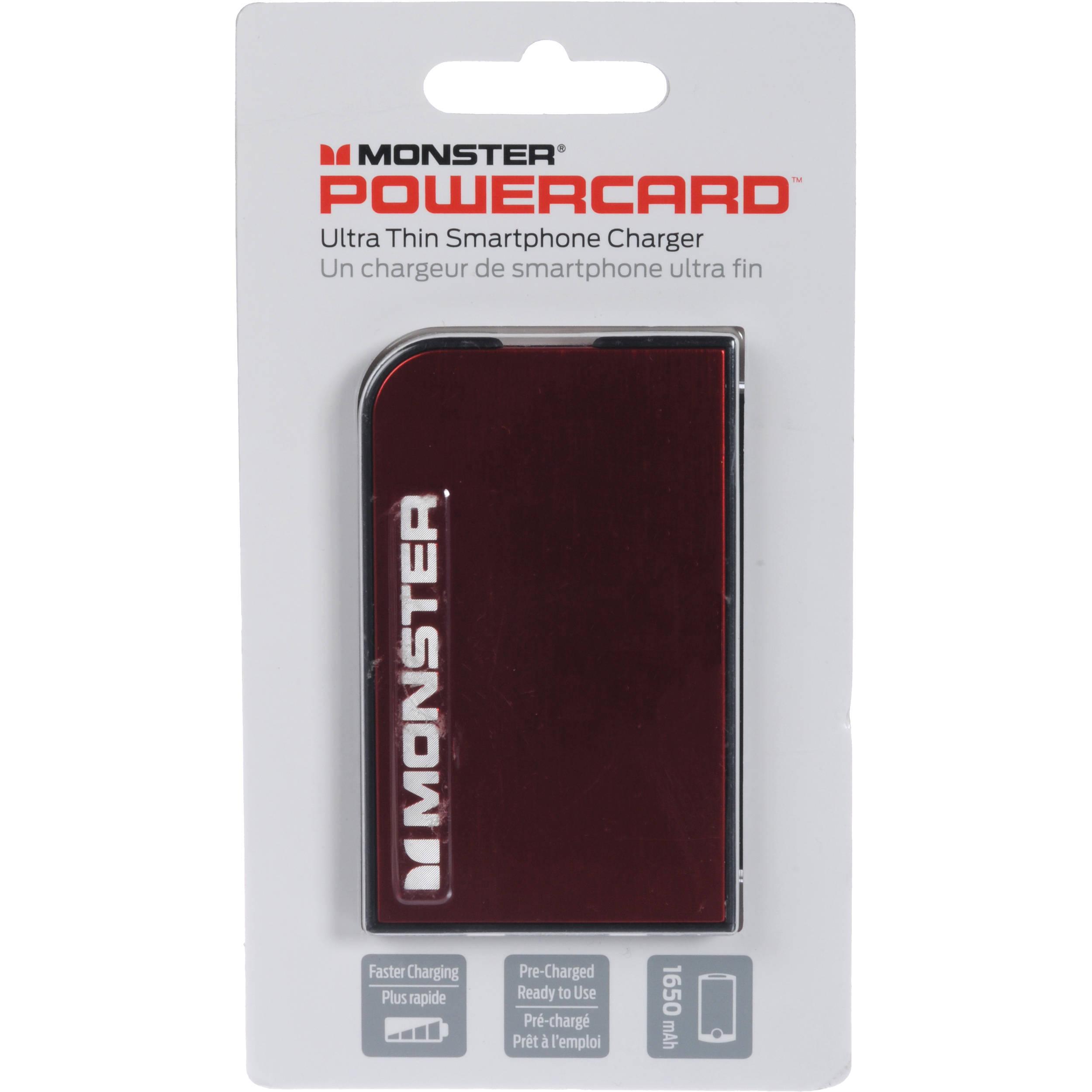 Monster Powercard Portable Battery Cherry Red 133333 00 B Amp H