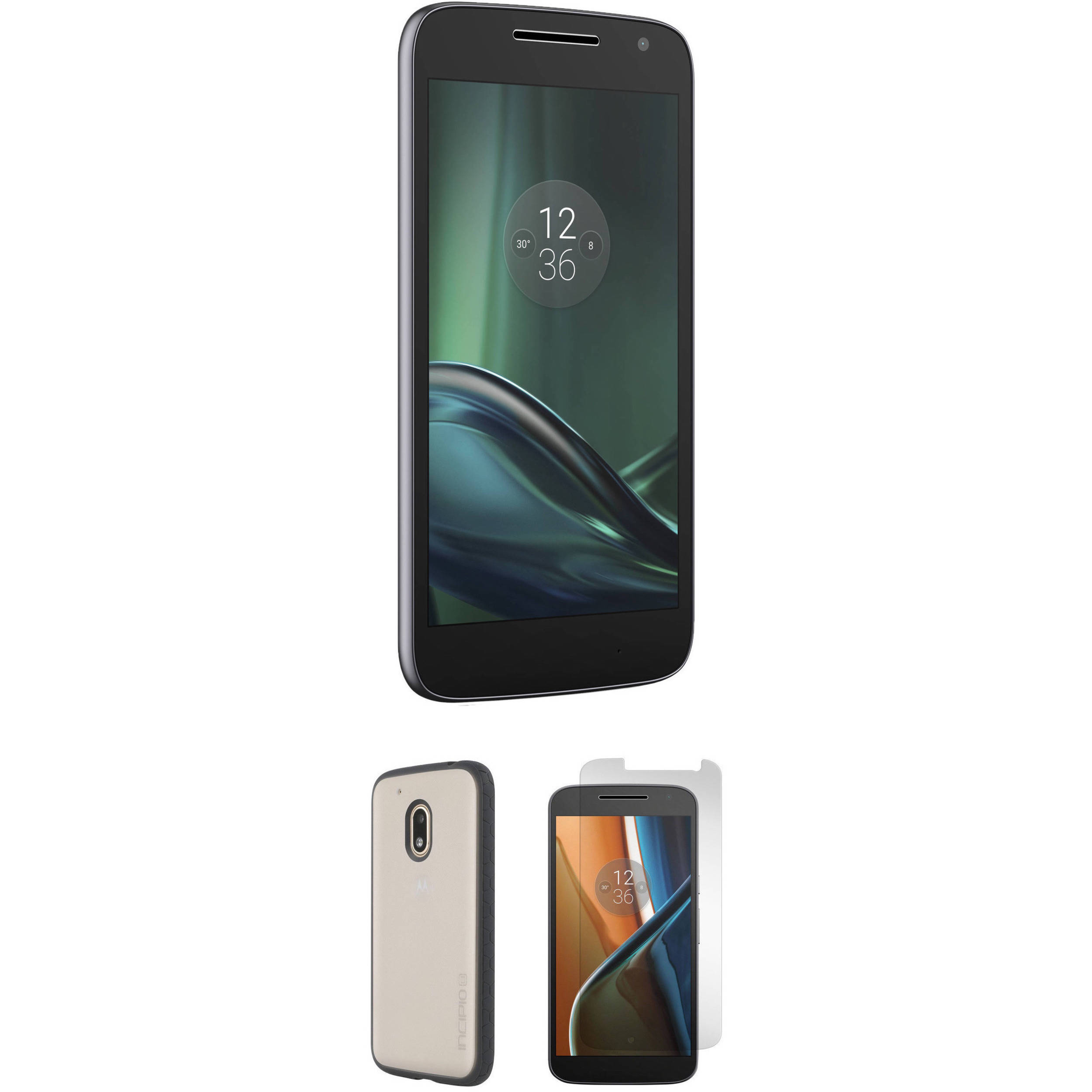 moto play. moto g play 4th gen. 16gb smartphone with frost/black case kit ( 2
