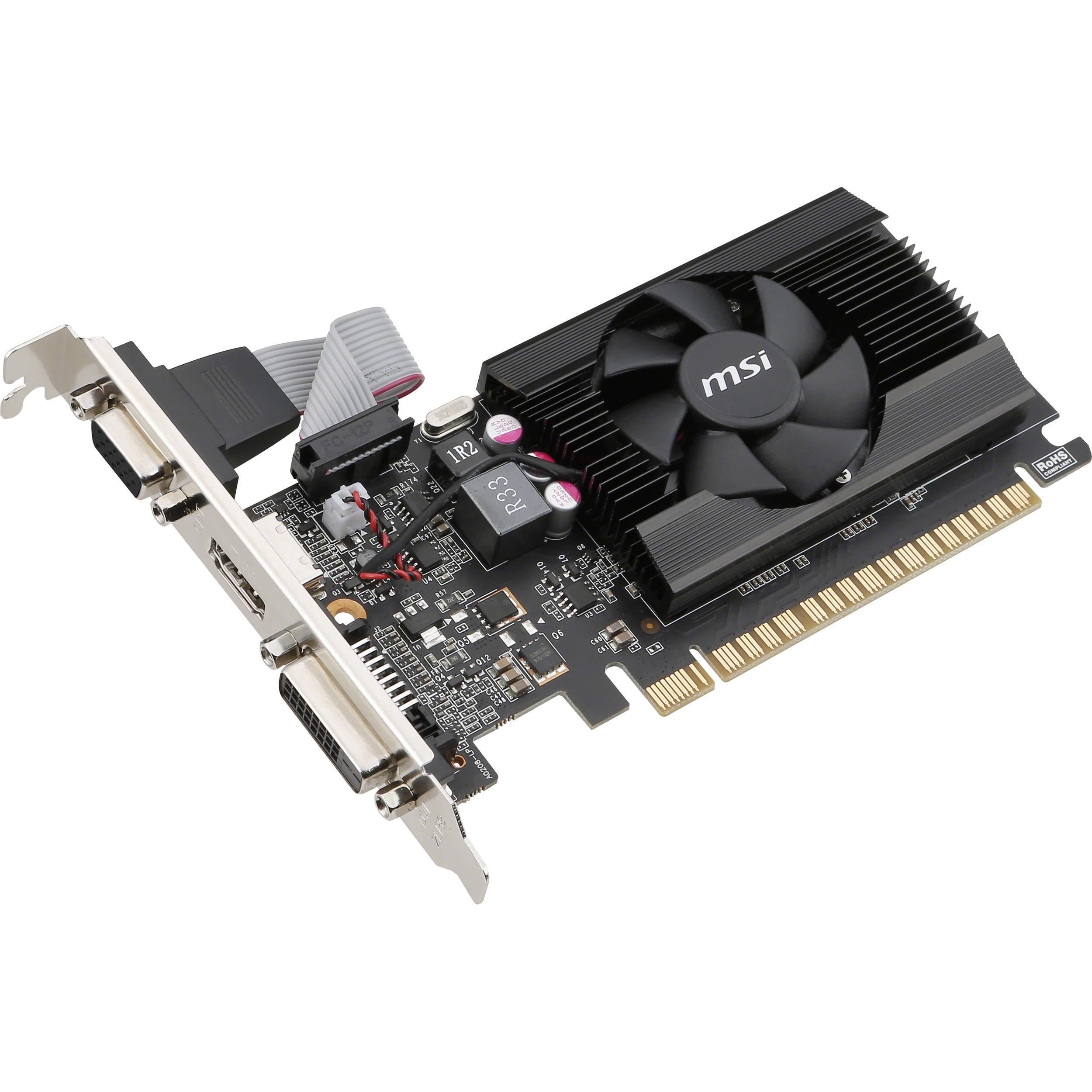 MSI NVIDIA GeForce GT 710 2GB DDR3 VGA//DVI//HDMI Low Profile pci-e Video