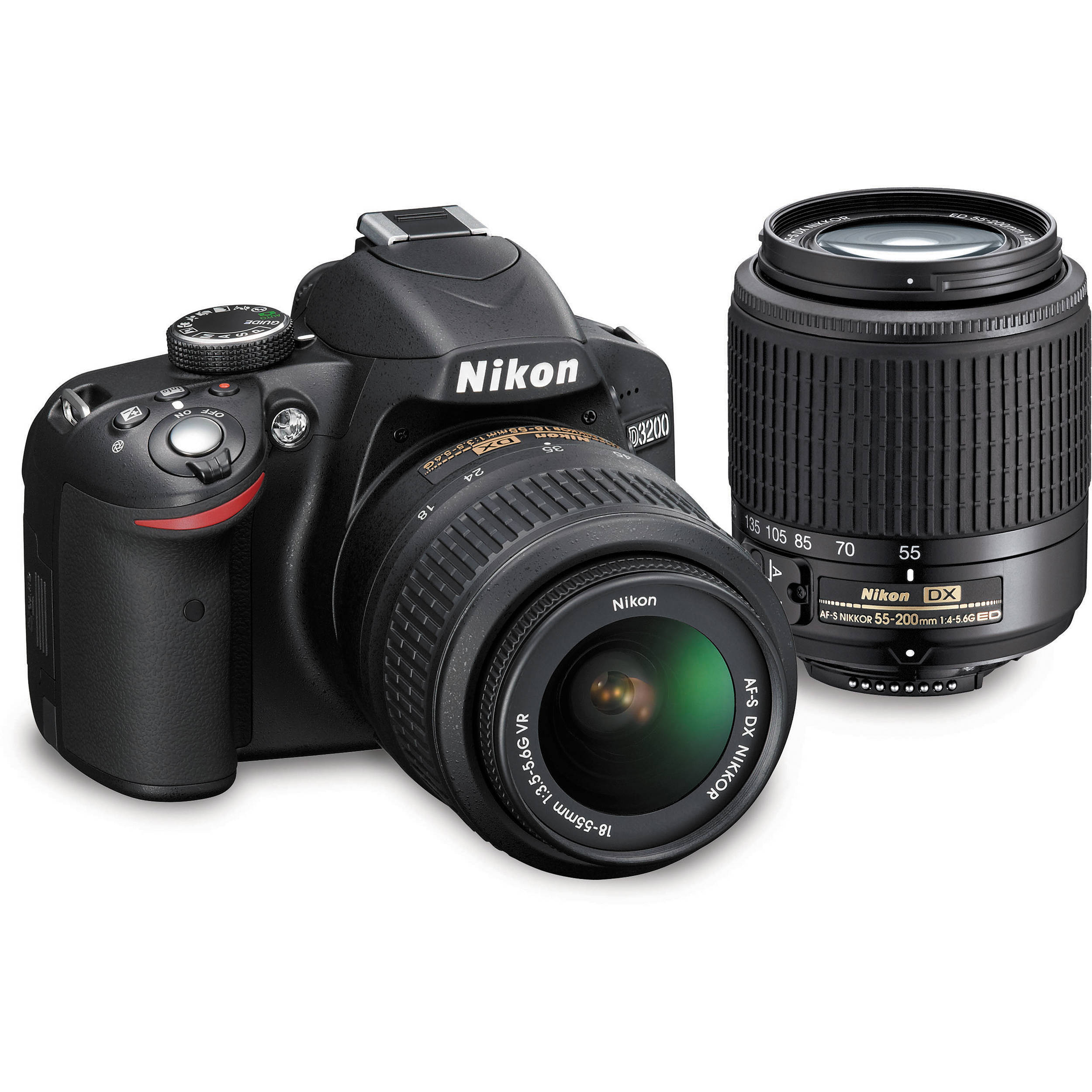 nikon d3200 dslr camera kit with 18 55mm vr and 55 200mm 13309 rh bhphotovideo com Nikon D3200 Tips Nikon D3200 Parts