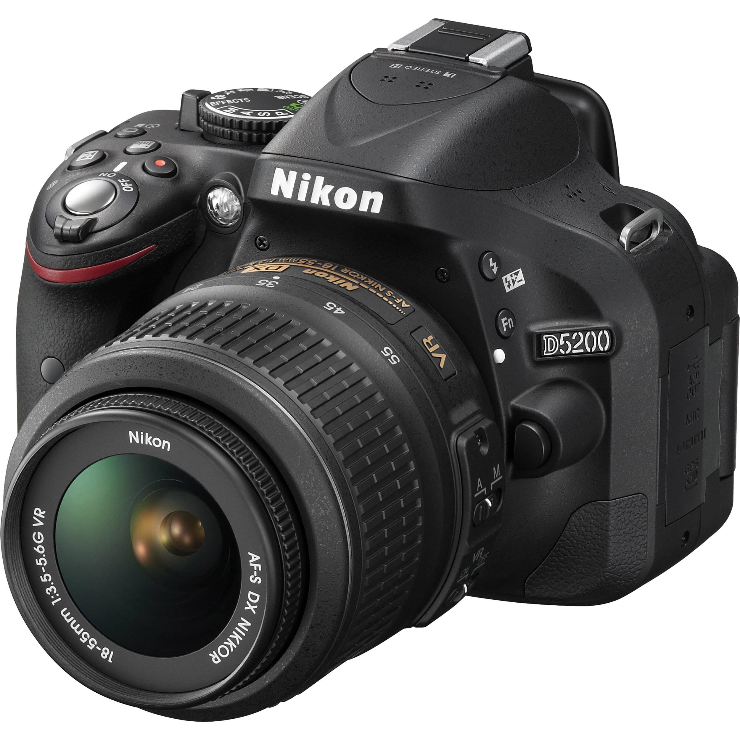 Used Nikon D5200 Dslr Camera With 18 55mm Lens Black 1503 B H