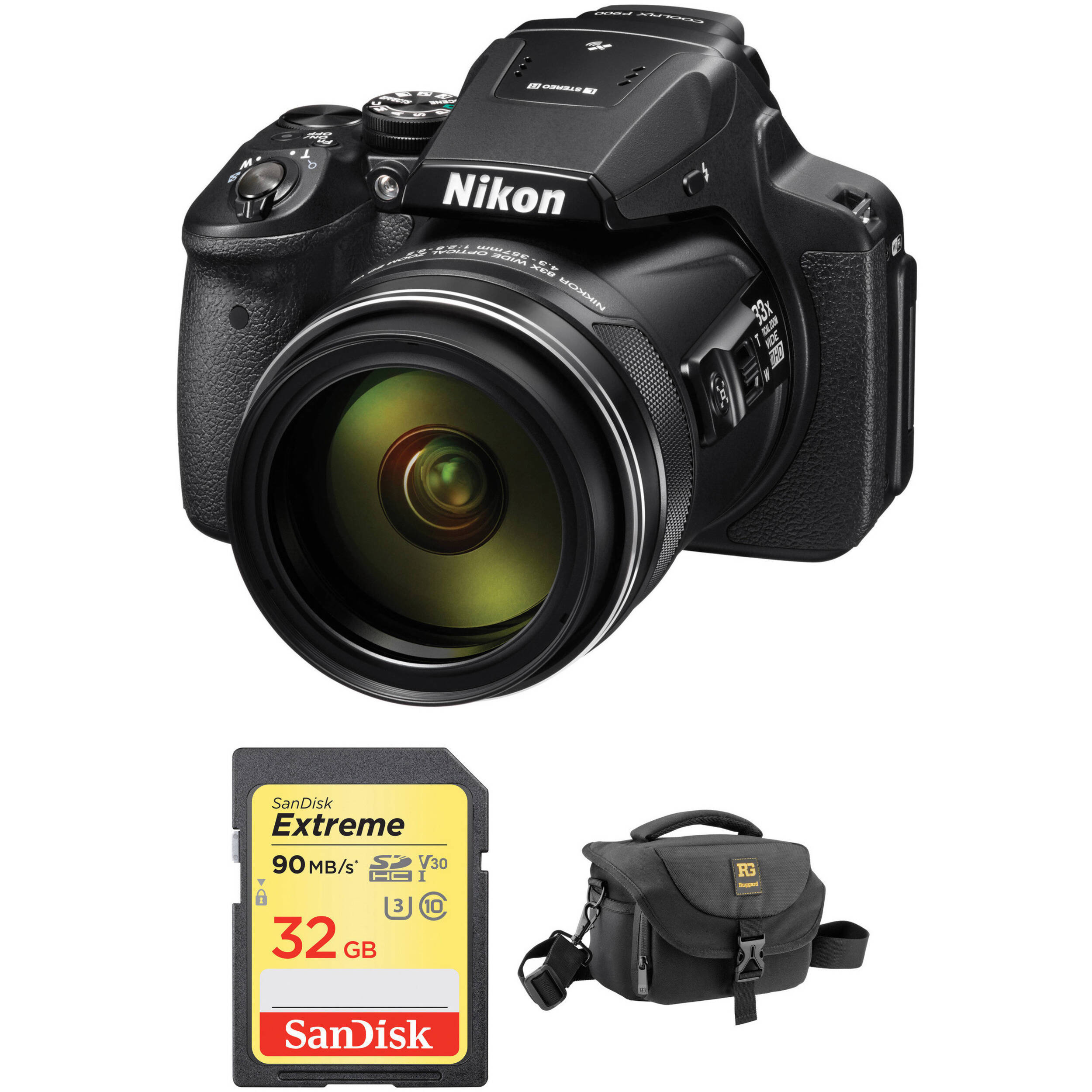 nikon coolpix p900 digital camera with accessories kit b h photo. Black Bedroom Furniture Sets. Home Design Ideas