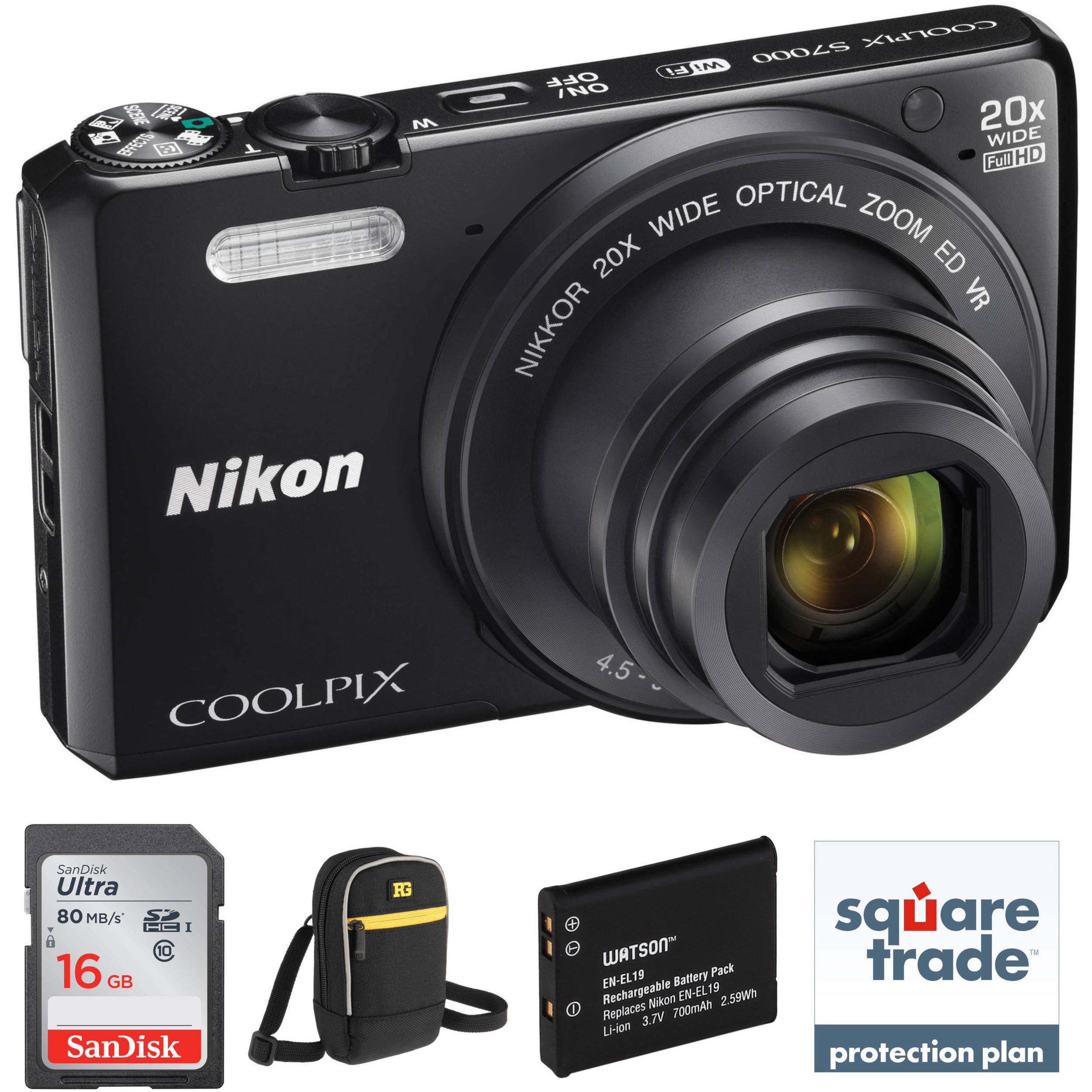 nikon coolpix s7000 digital camera deluxe kit b h photo video. Black Bedroom Furniture Sets. Home Design Ideas