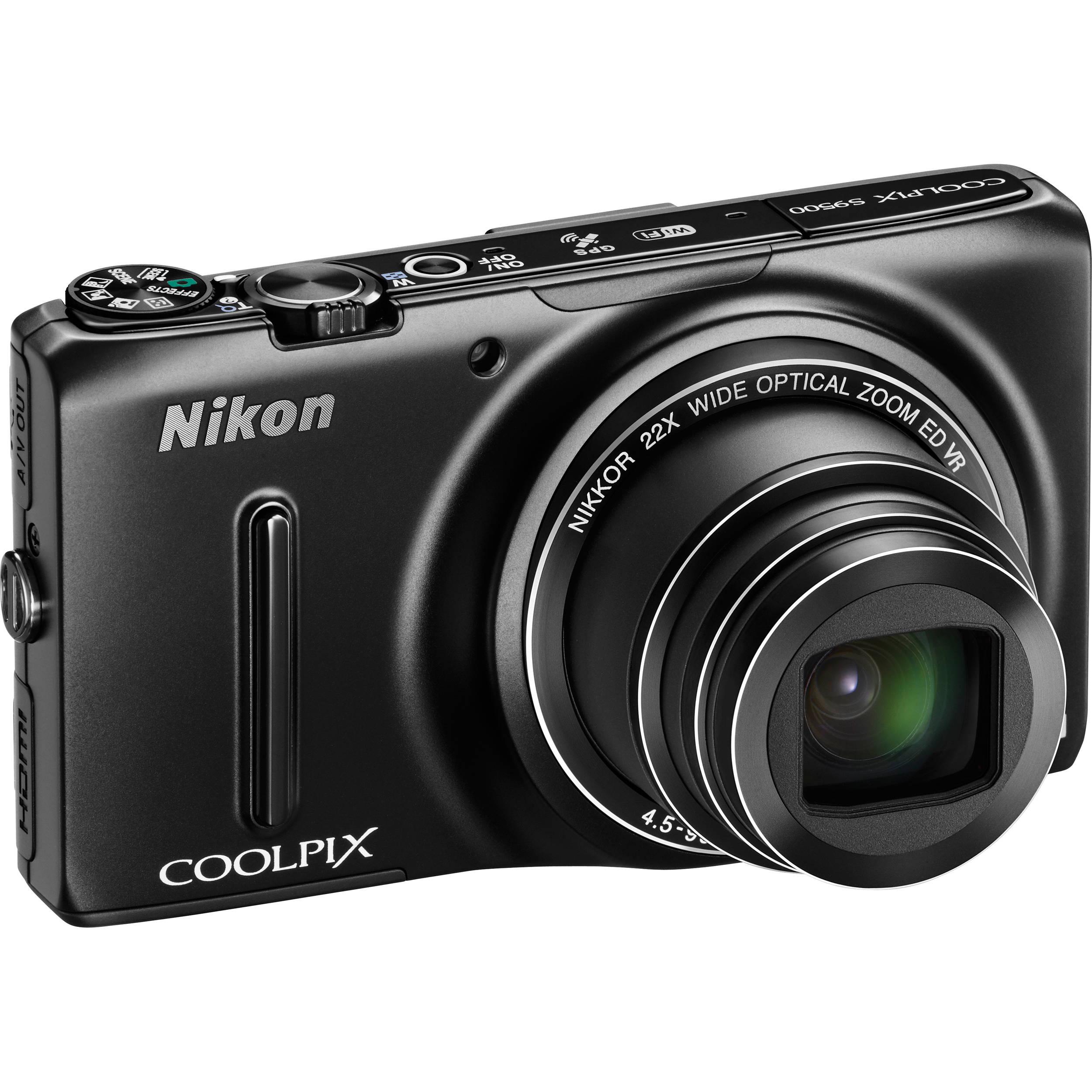 Nikon COOLPIX S9500 Digital Camera (Black) 26418 B&H Photo Video