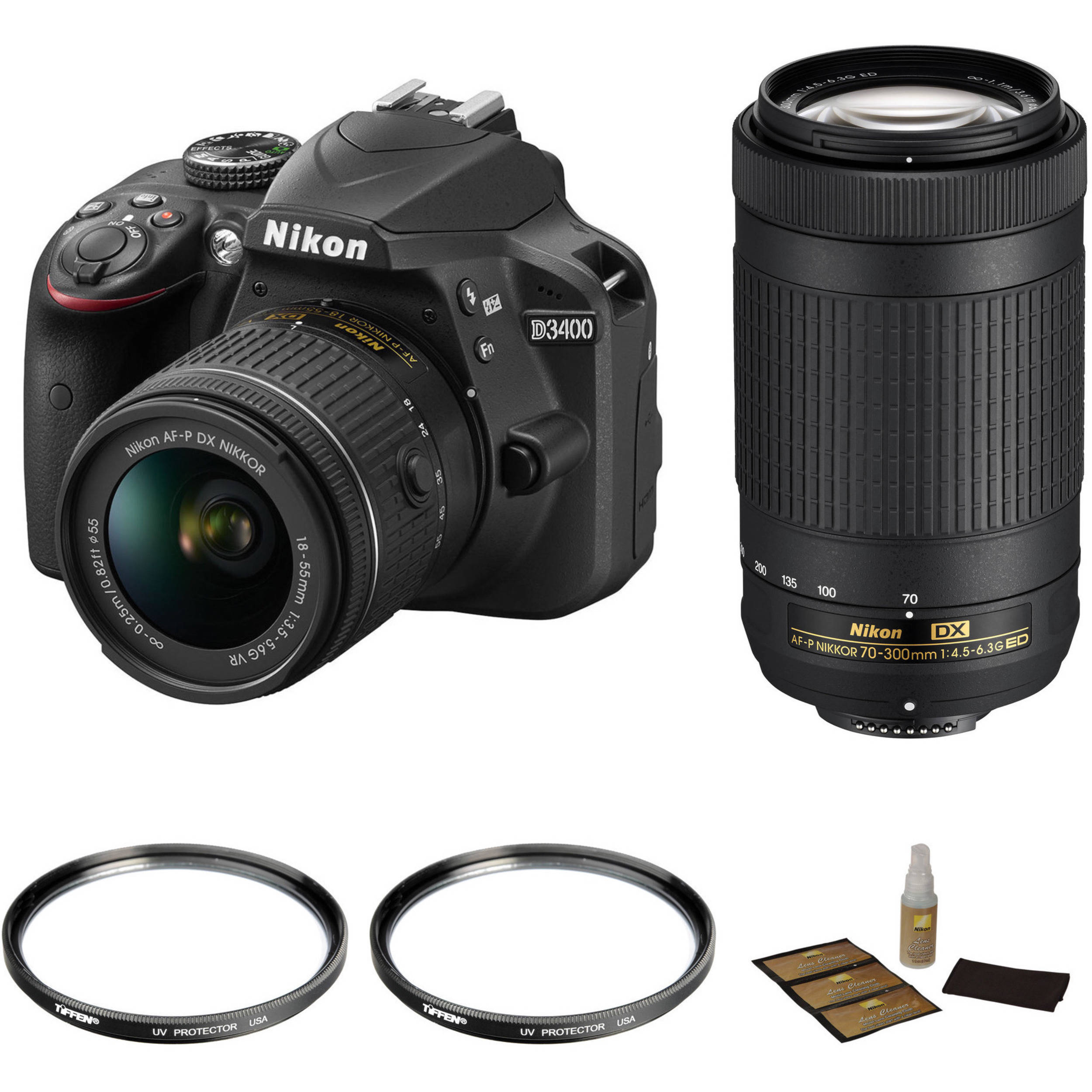 Nikon D3400 With 18 55mm And 70 300mm Lenses Basic Kit Bh Photo