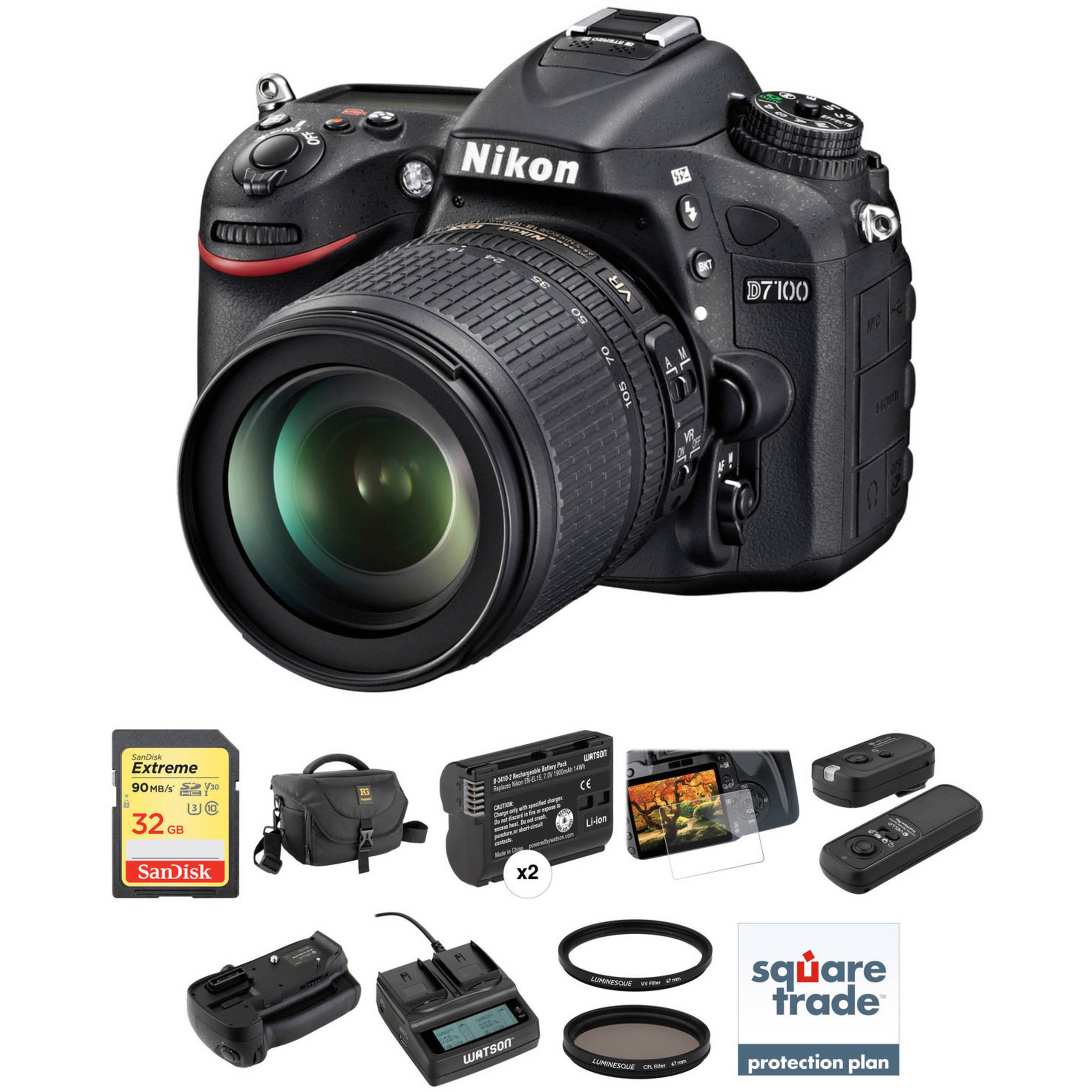 Nikon D7100 DSLR Camera with 18-105mm Lens Deluxe Kit B&H Photo