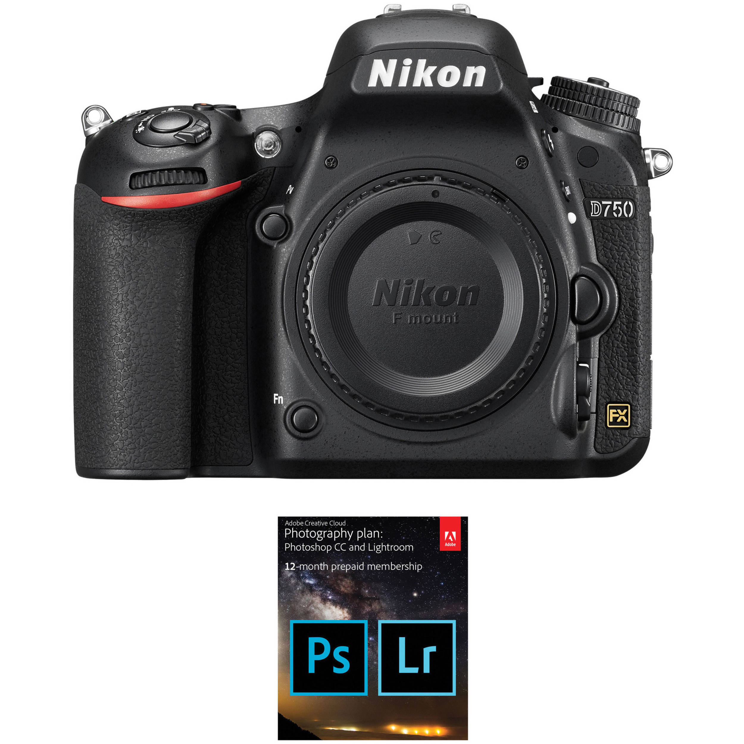 D750 DSLR Camera Body with Adobe Creative Cloud 12-Month Subscription Kit