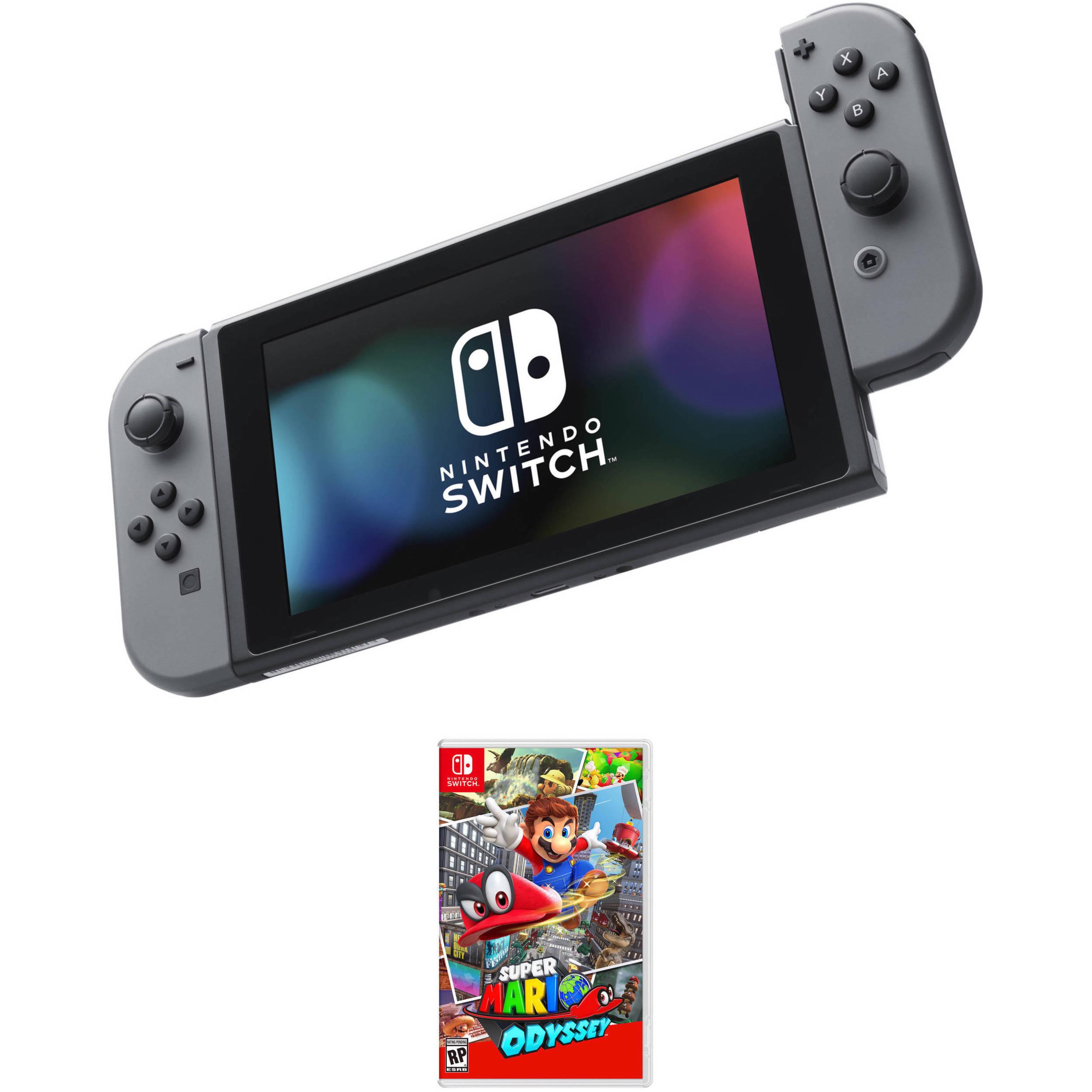 Nintendo Switch Kit With Super Mario Odyssey Gray Joy Con B H