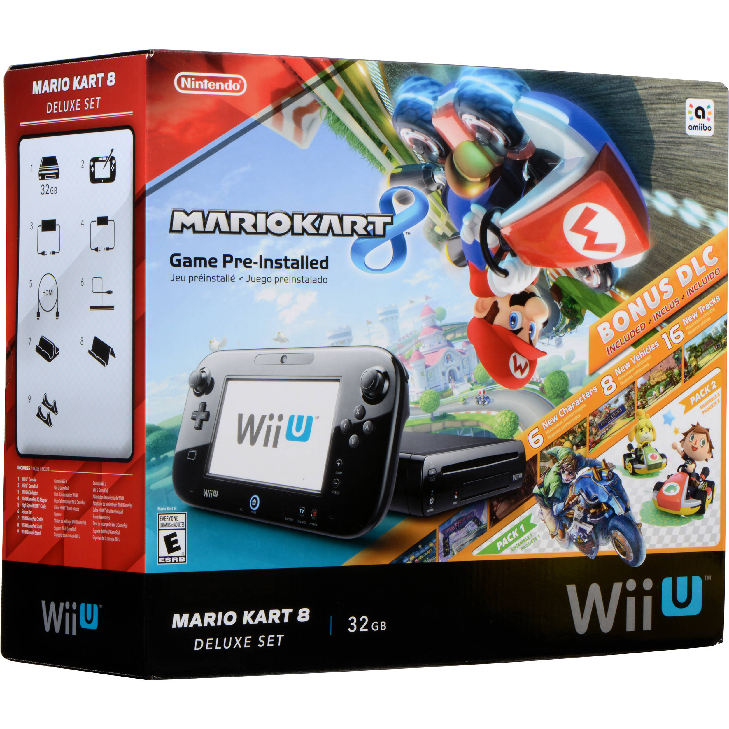 nintendo wii u mario kart 8 deluxe bundle black wupskagp b h. Black Bedroom Furniture Sets. Home Design Ideas