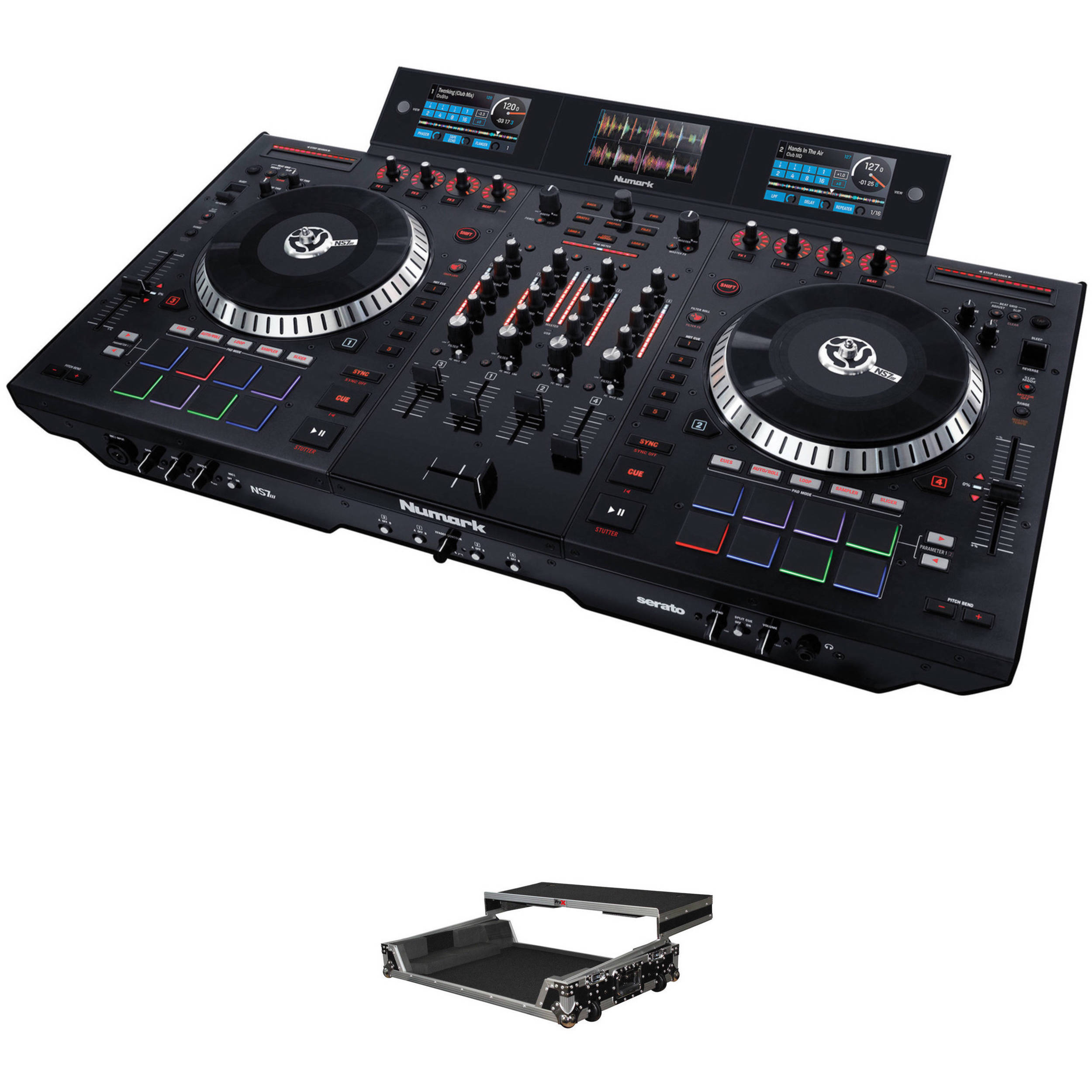 Numark ns7 iii 4 deck serato dj controller kit with hard case for Dj controller motorized platters