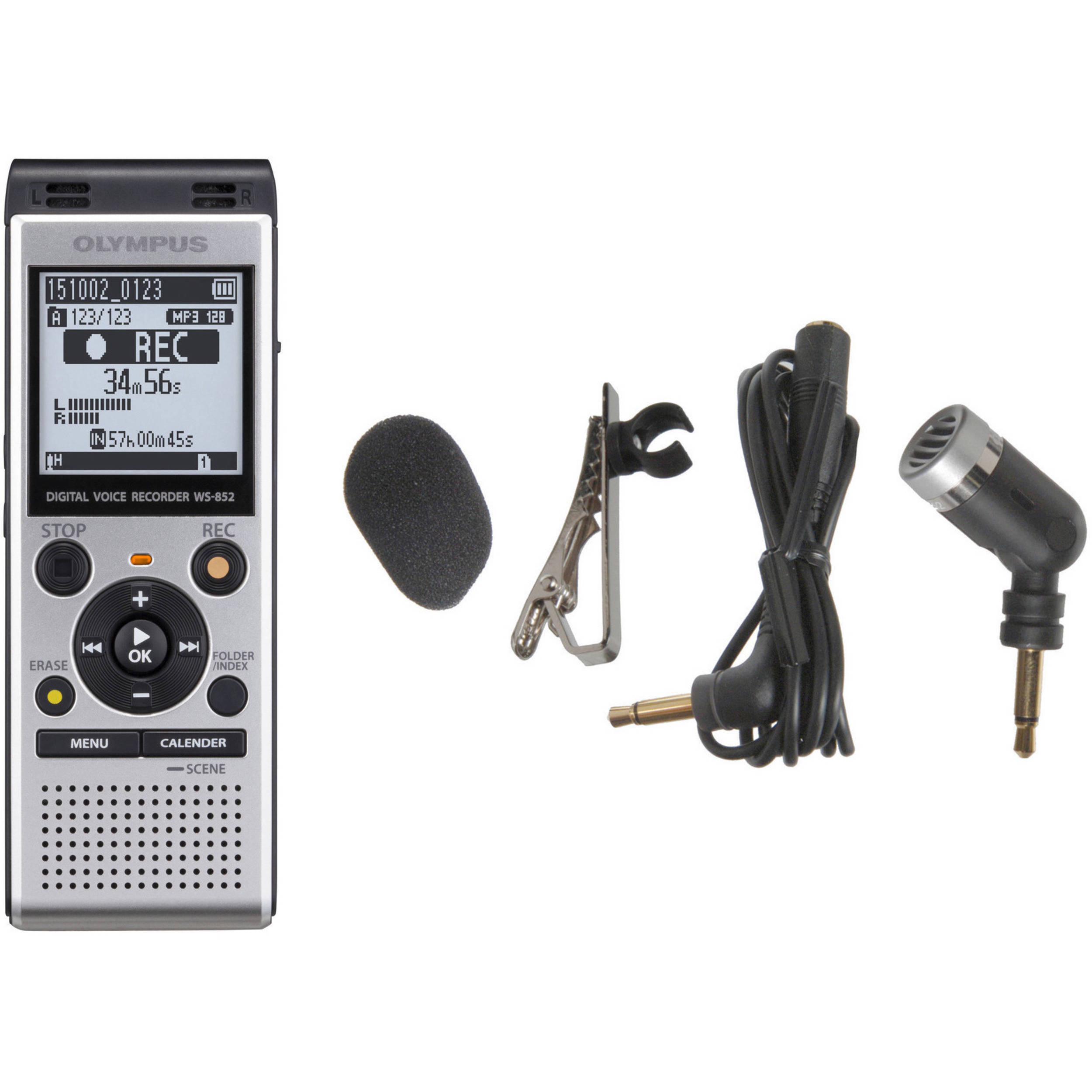WS-852 Digital Voice Recorder and ME-52W Microphone Kit (Silver)