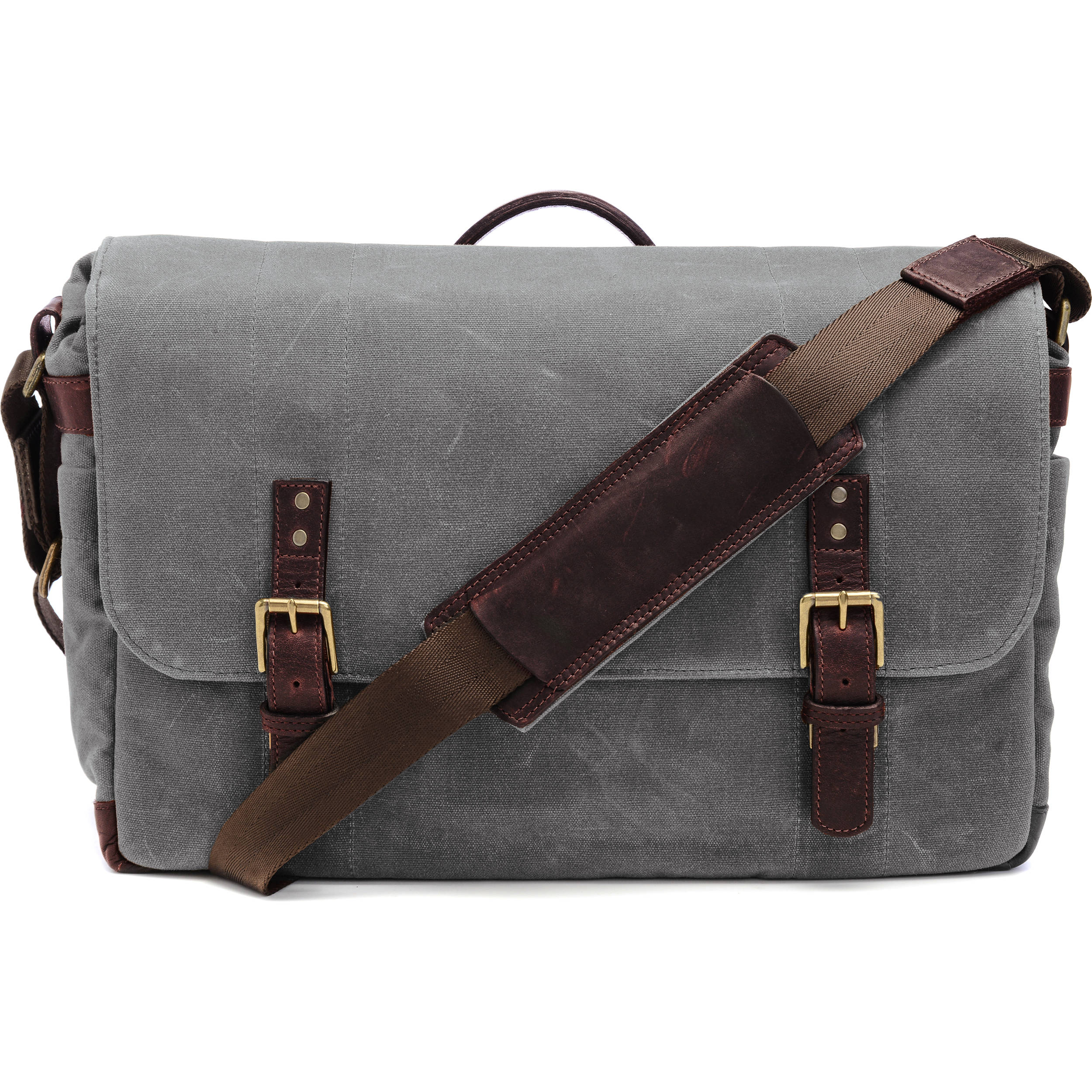 Ona The Union Street Messenger Bag Smoke Waxed Canvas Leather